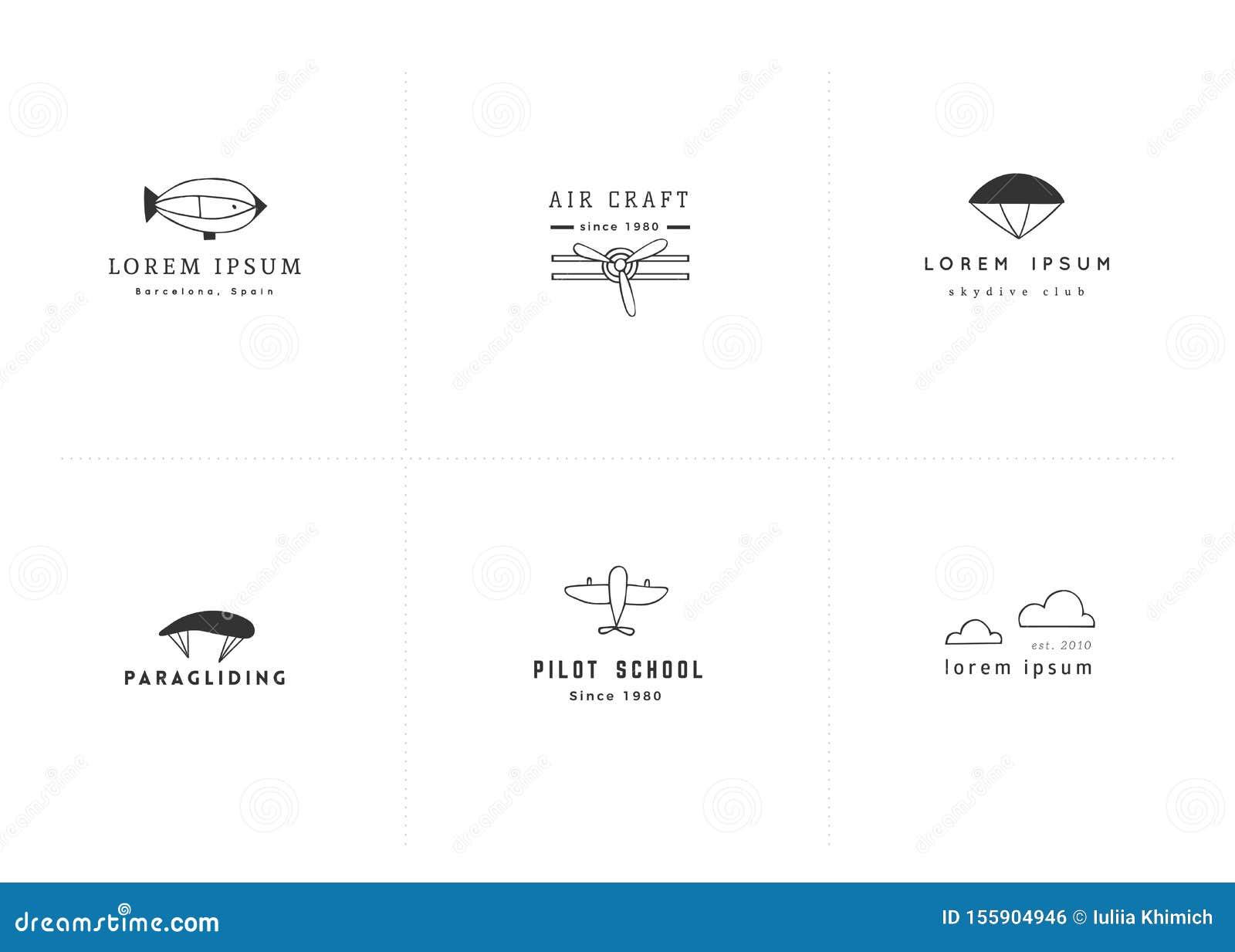 Set Of Hand Drawn Minimal Vector Logo Templates. Sky ...