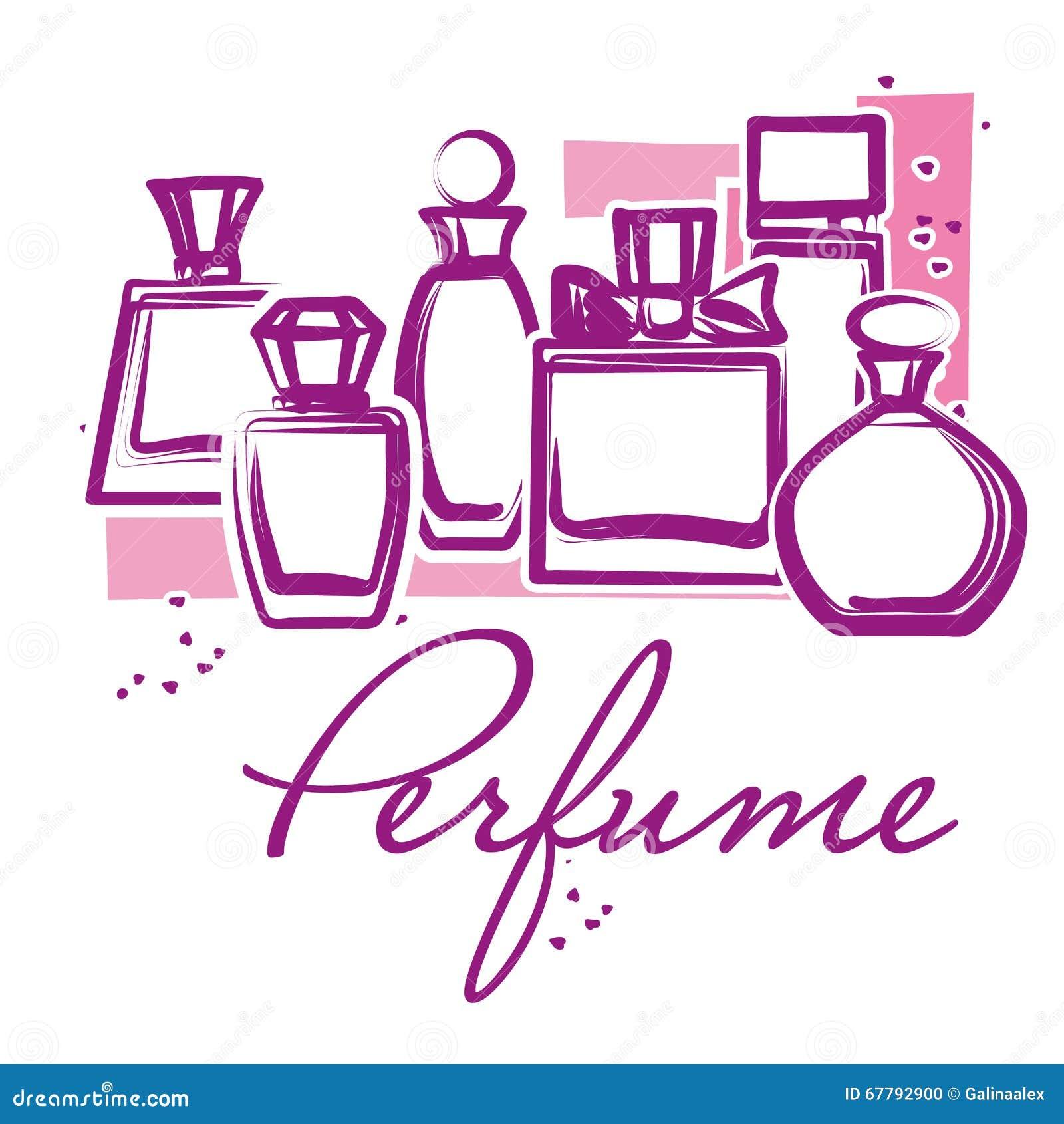 Set Of Hand Drawn Perfume Bottles Cartoon Vector ...
