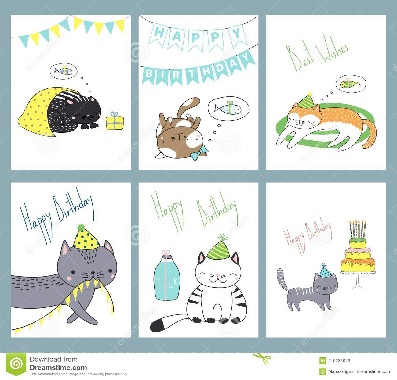 Set Of Hand Drawn Ready To Use Birthday Cards Templates With Cute Funny Cartoon Cats In Party Hats Typography Vector Illustration