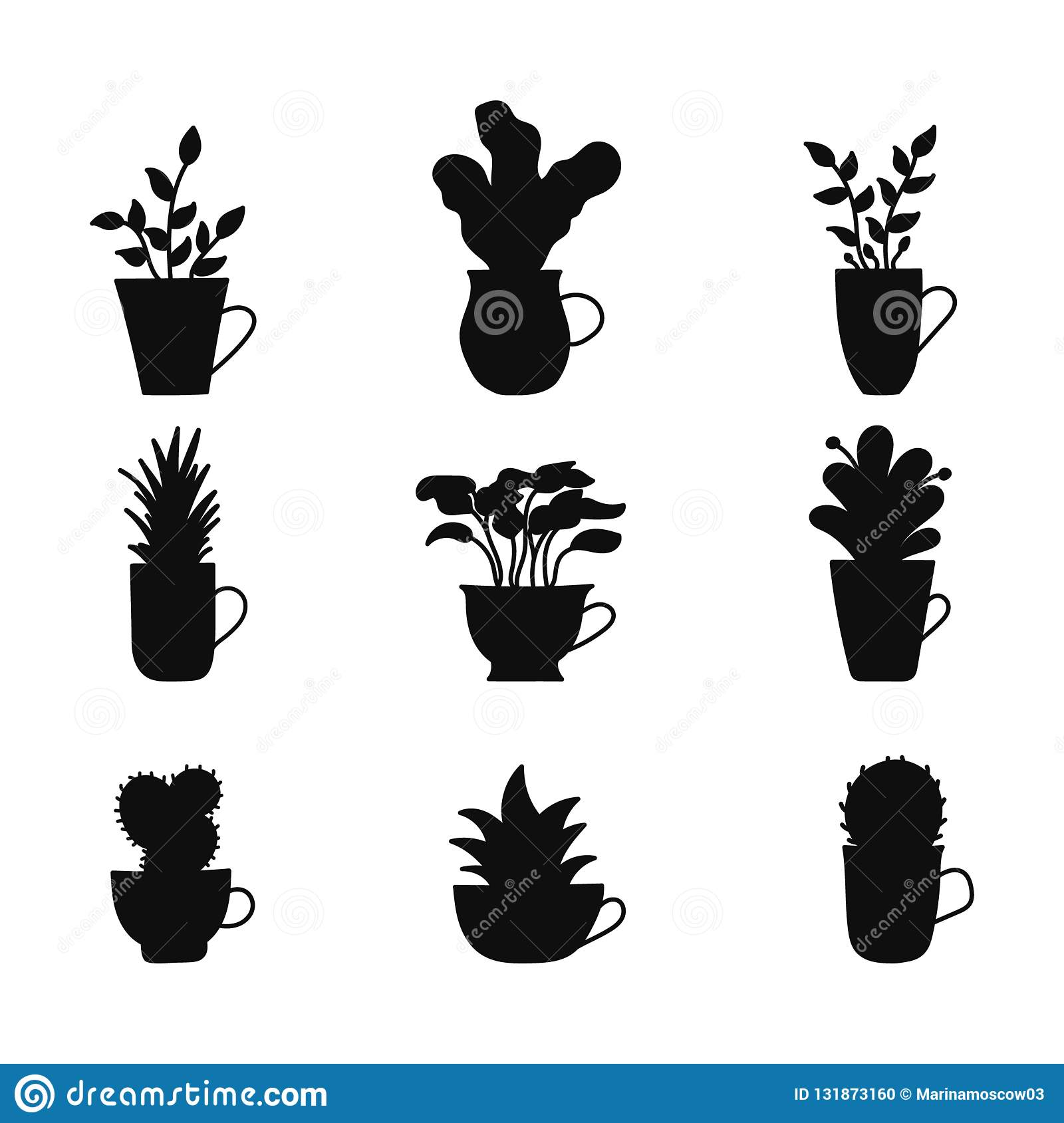Set of hand drawn silhouette plants in cup. Cartoon hand drawning plants. Vector illustration in sketch doodle cute style