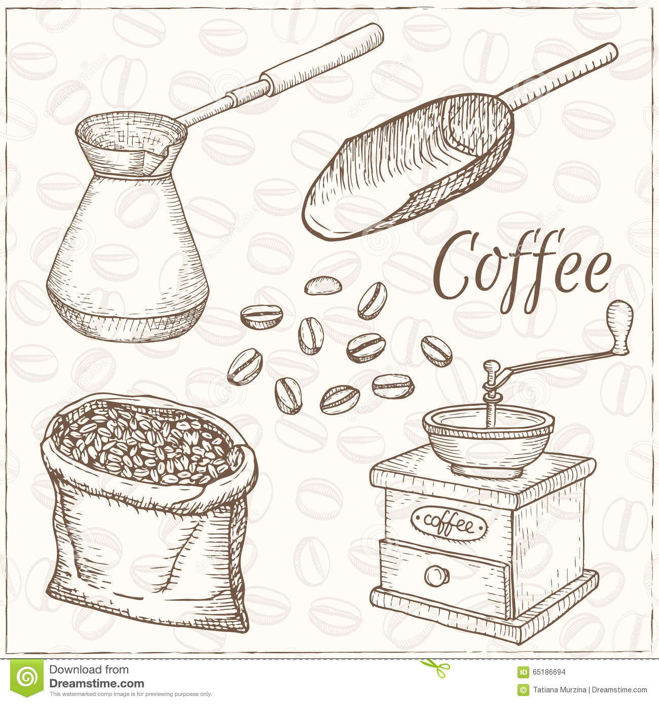 Set of hand drawn simple coffee theme sketches