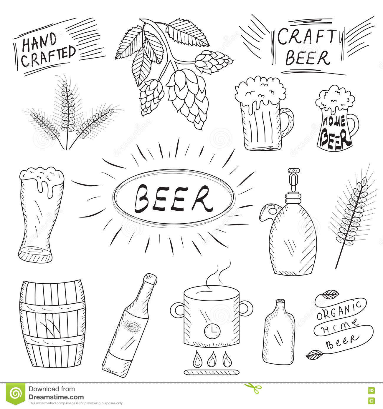 beer brewery brewing crafted drawn hand home illustration set vector design. beautiful ideas. Home Design Ideas