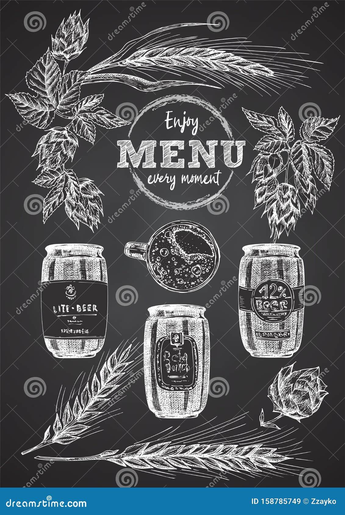 Set Hand Drawn Sketch Bottle And Beer Can Hop Wheat Vintage Design Bar Restaurant Cafe Menu On Black Chalk Board Background Stock Vector Illustration Of Oktoberfest Drawn 158785749