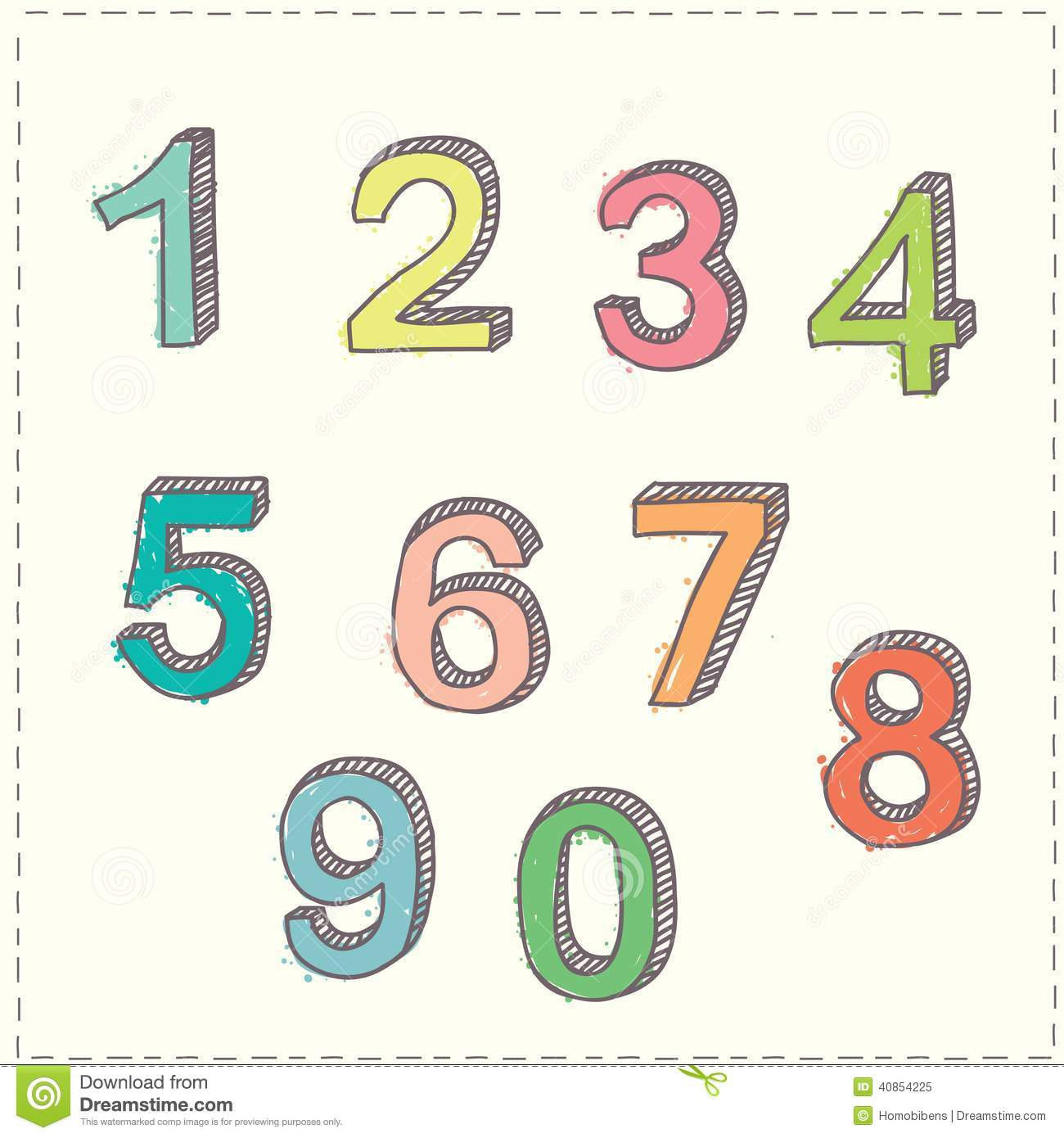 Set of hand drawn sketches numbers