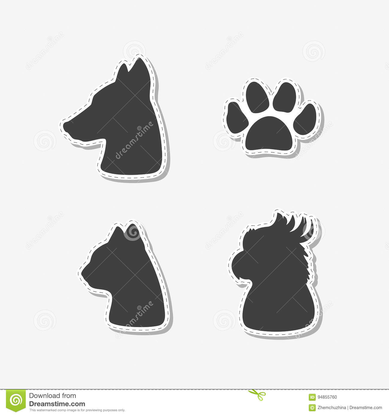 Set Of Hand Drawn Stickers With Heads Of Dog, Cat, Parrot And Paw ...
