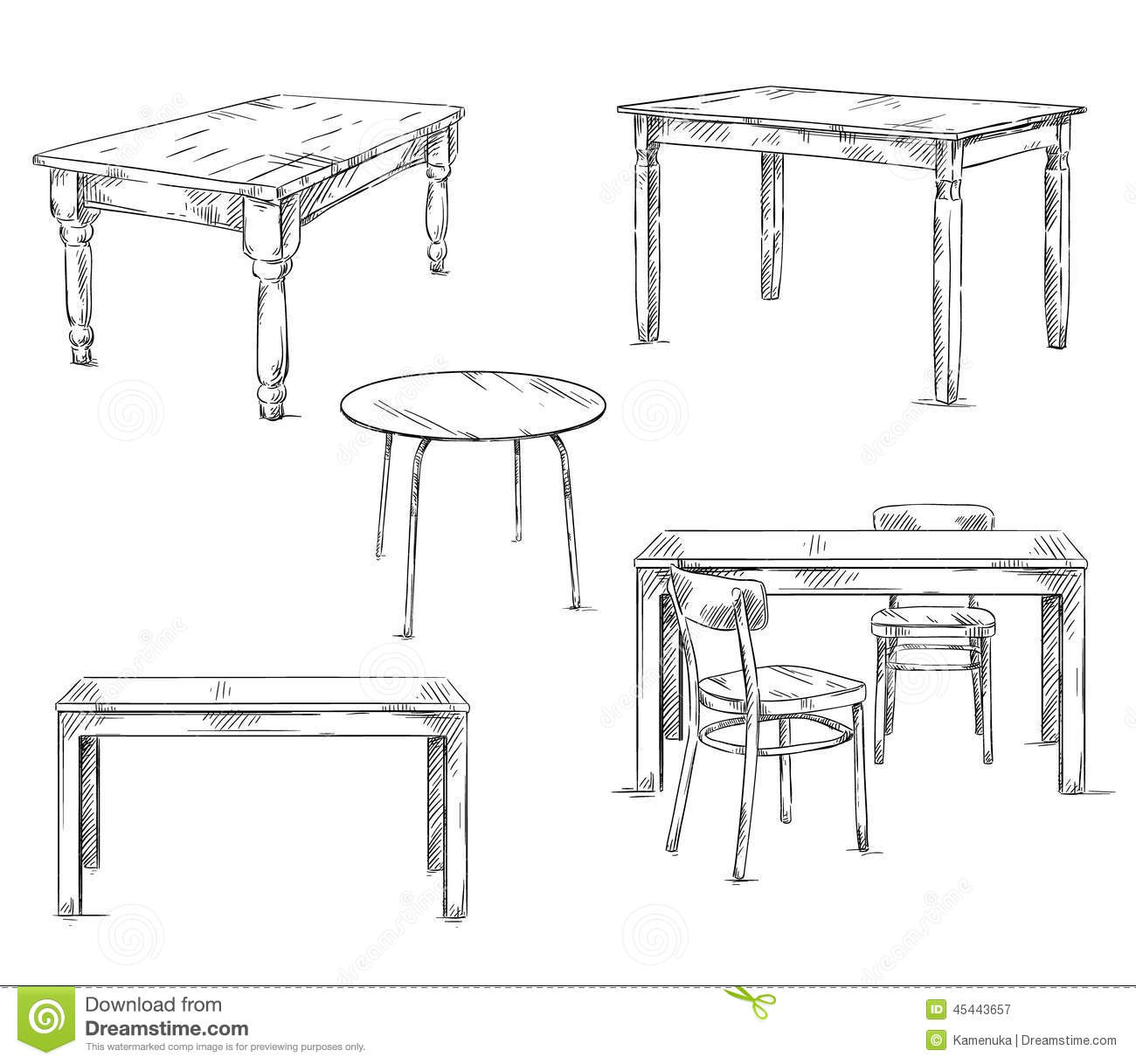 Set of hand drawn tables vector illustration stock vector for Table design sketch