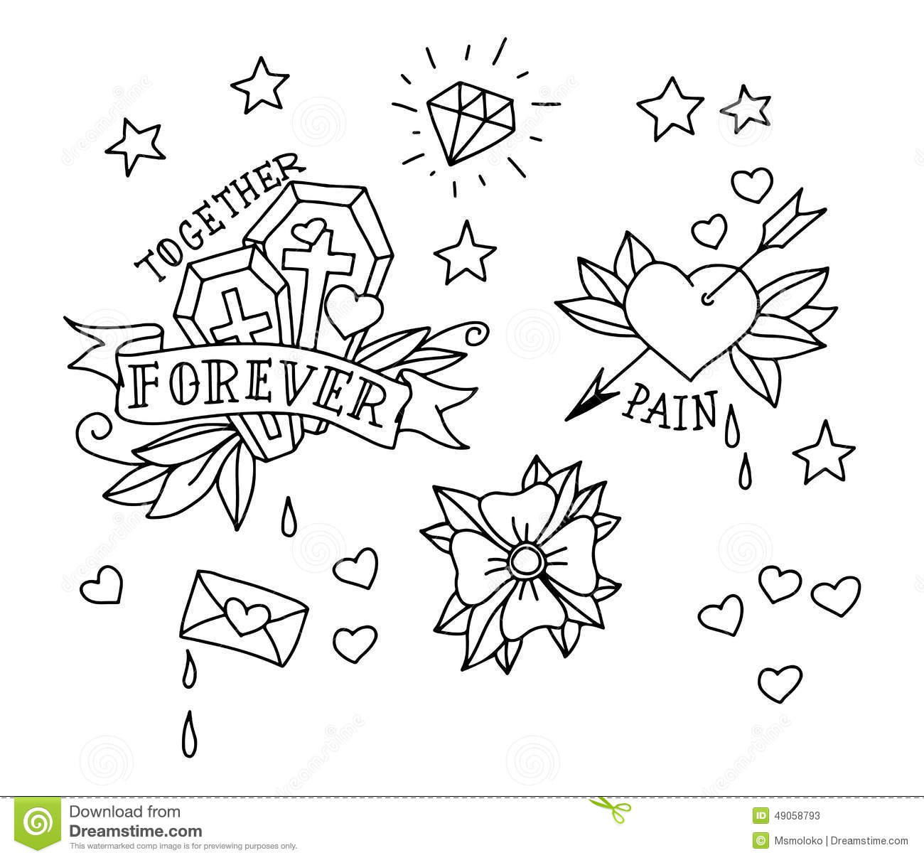 Set Of Hand Drawn Tattoo Elements Stock Vector Image 49058793