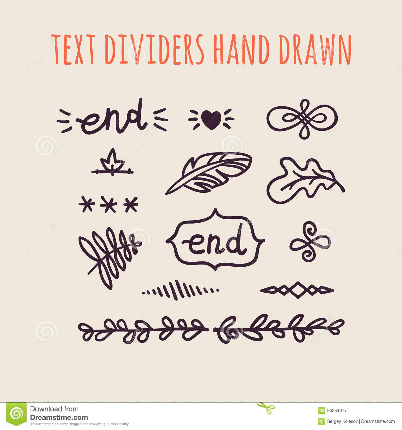 Vintage Decorative Text Dividers Collection. Hand Drawn ...