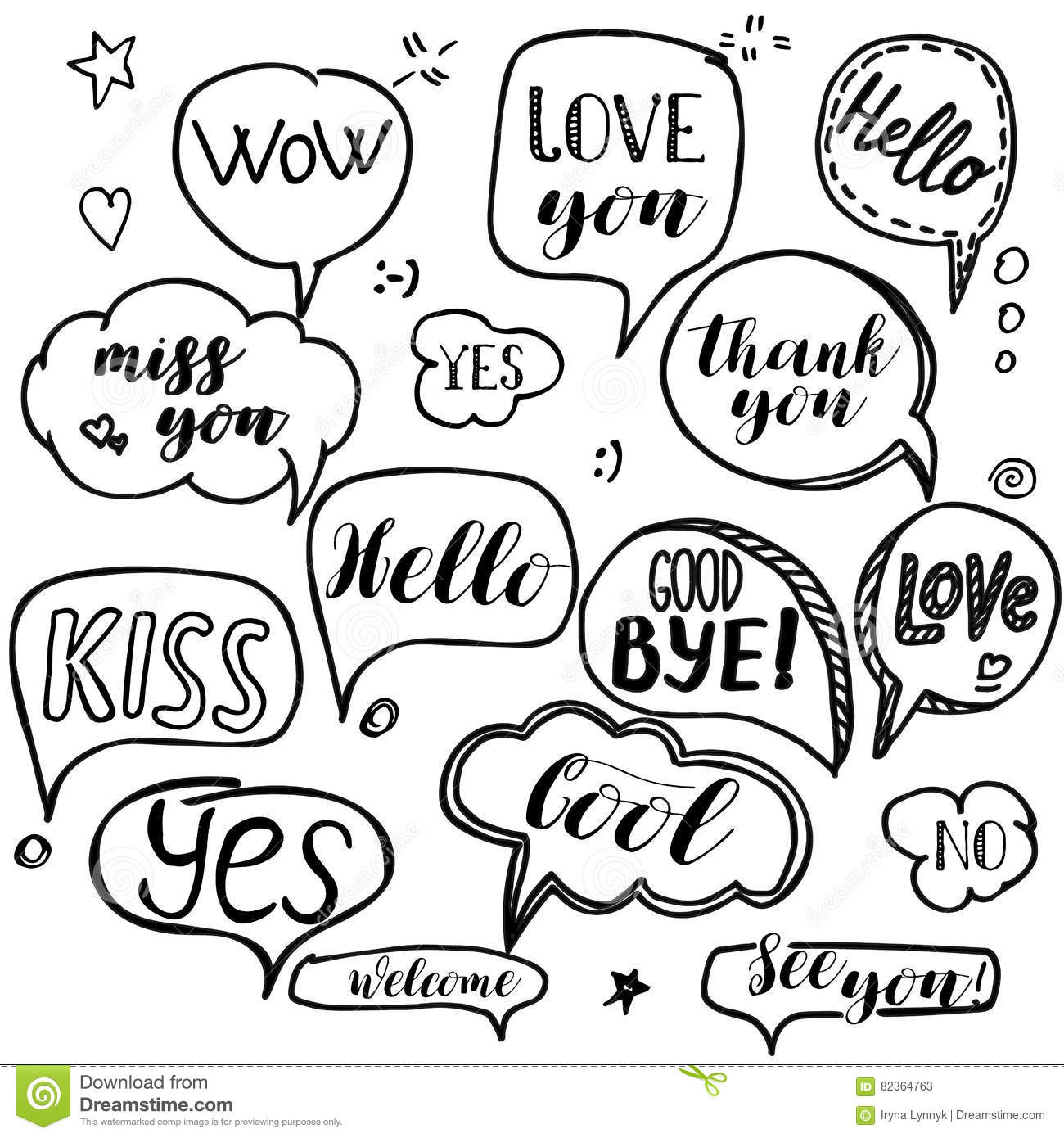 Set of hand drawn think and talk speech bubbles with love message download set of hand drawn think and talk speech bubbles with love message greetings and m4hsunfo