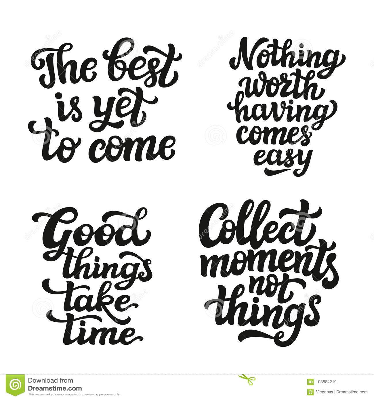 Set Of Hand Drawn Quotes Stock Vector Illustration Best