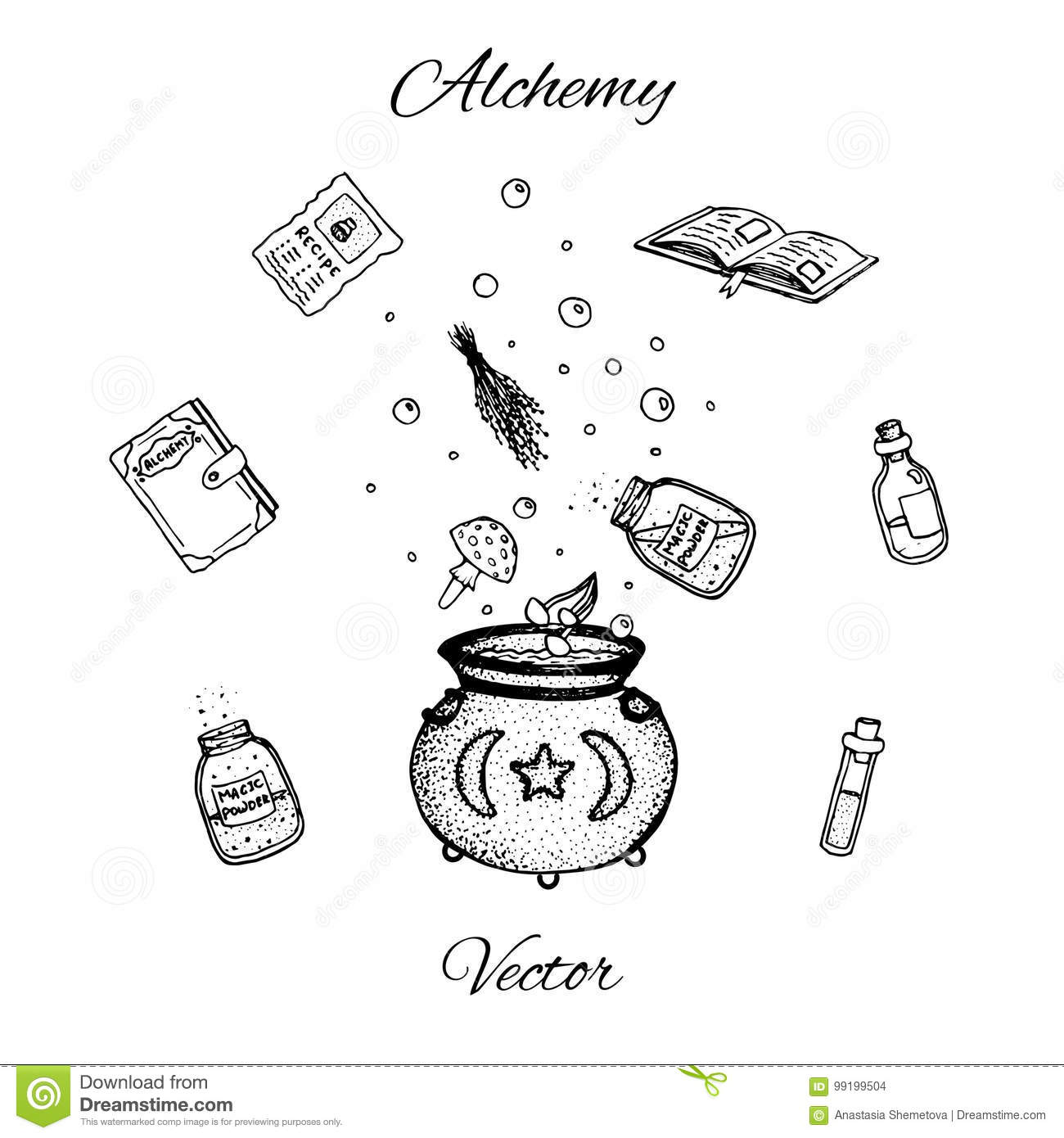 Set of hand drawn vector alchemy bottles. Black outline of potions, vials, herbs, books, mushrooms and cauldron.