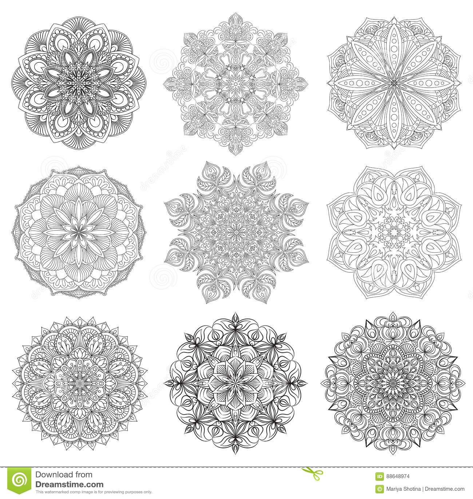 Set Of 9 Hand Drawn Vector Arabic Mandala On White Background