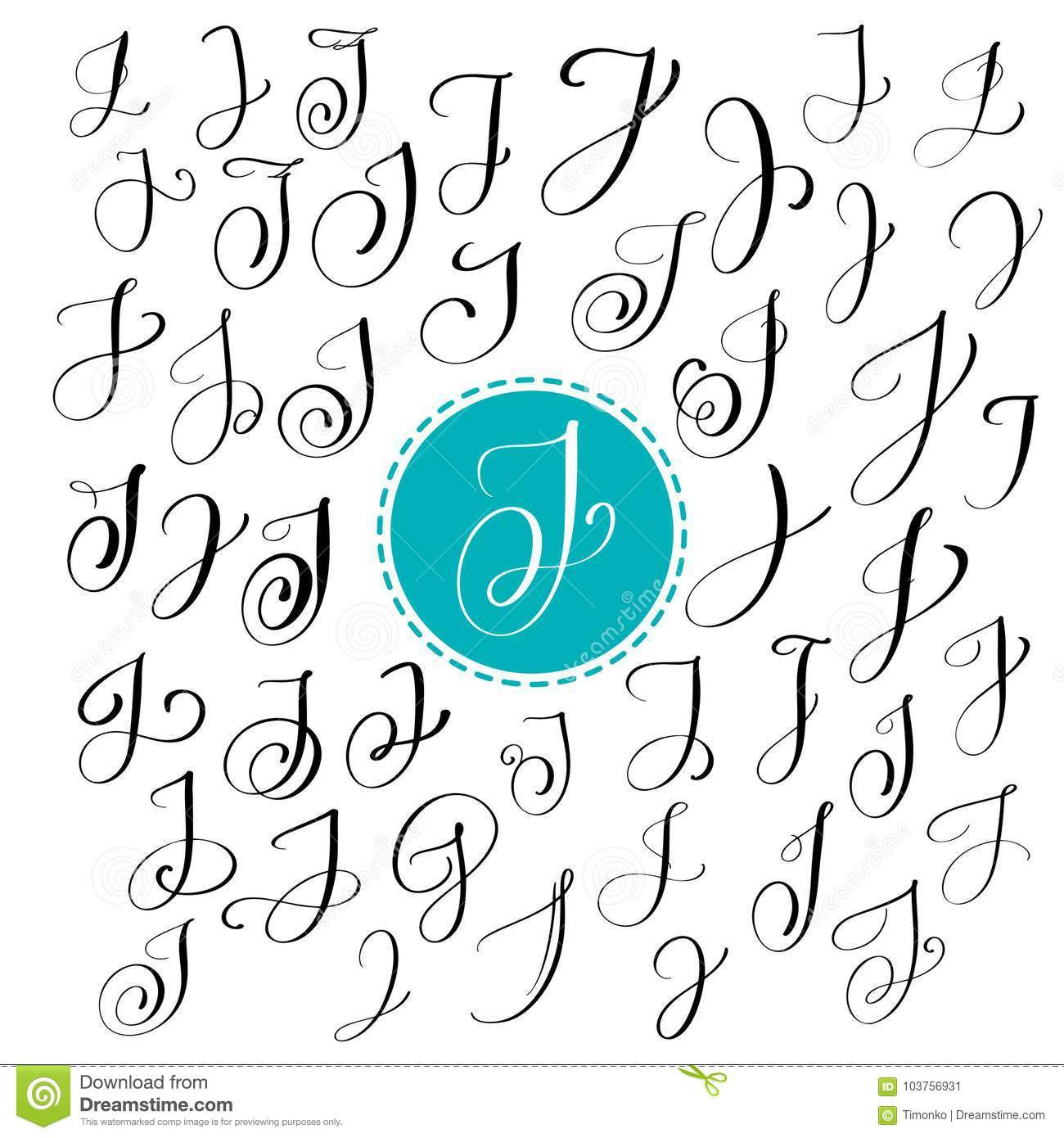Set Of Hand Drawn Vector Calligraphy Letter J. Script Font