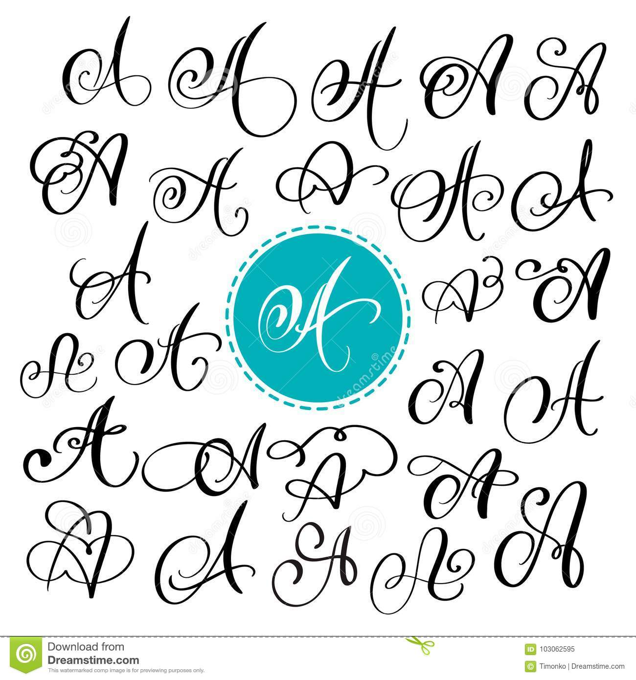 Set Of Hand Drawn Vector Calligraphy Letter A Script Font Isolated