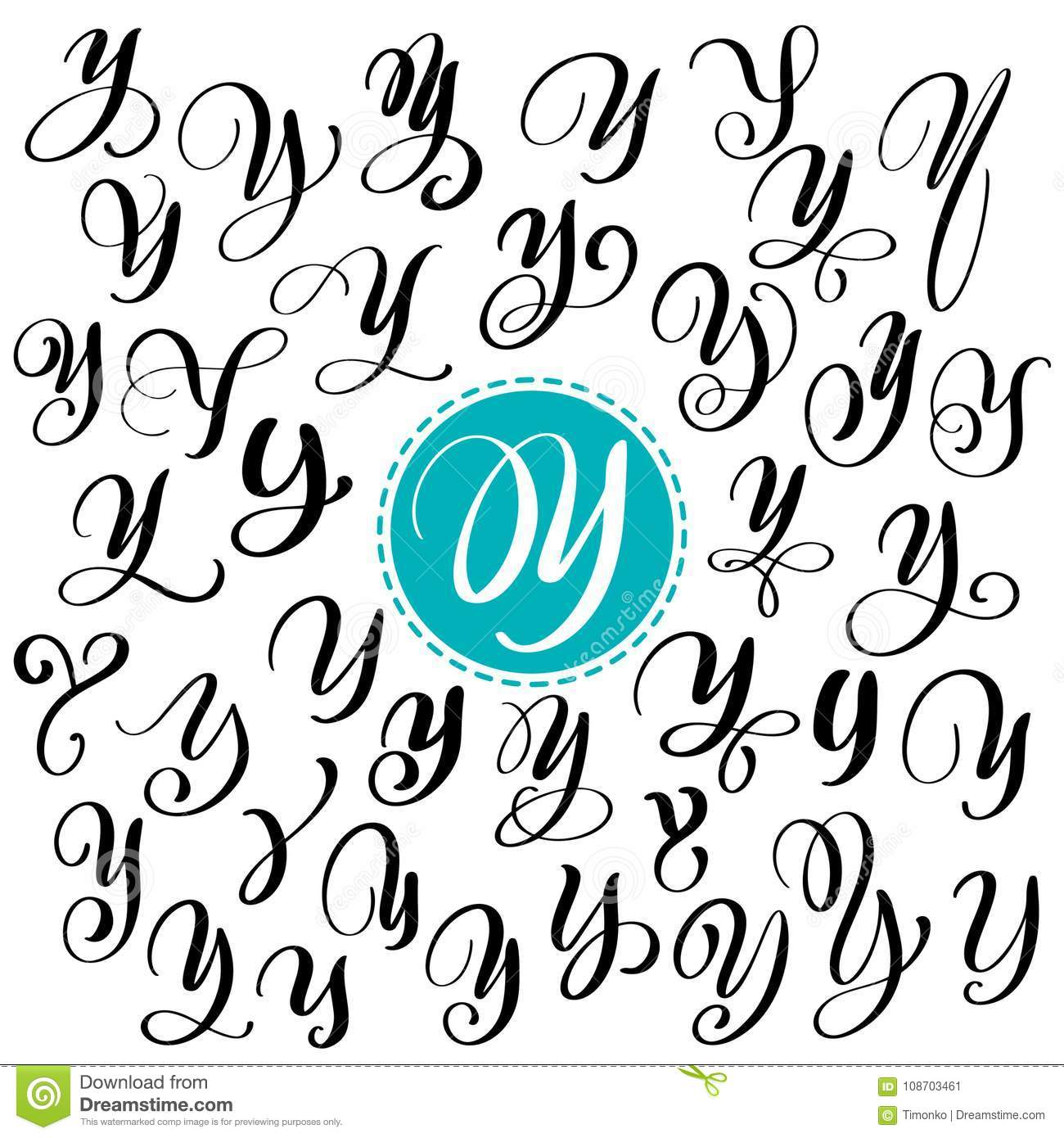 Set of Hand drawn vector calligraphy letter Y. Script font. Isolated letters written with ink. Handwritten brush style