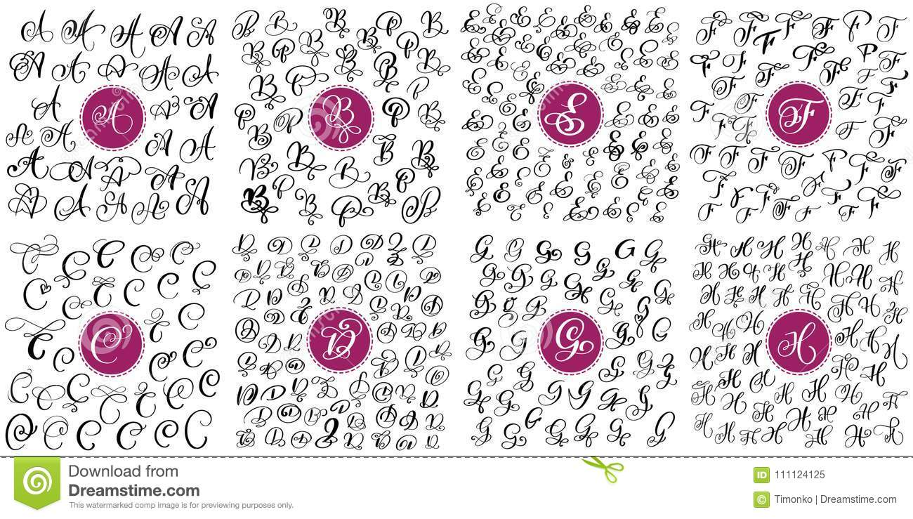Set Of Hand Drawn Vector Calligraphy Letters A B C D E F G H