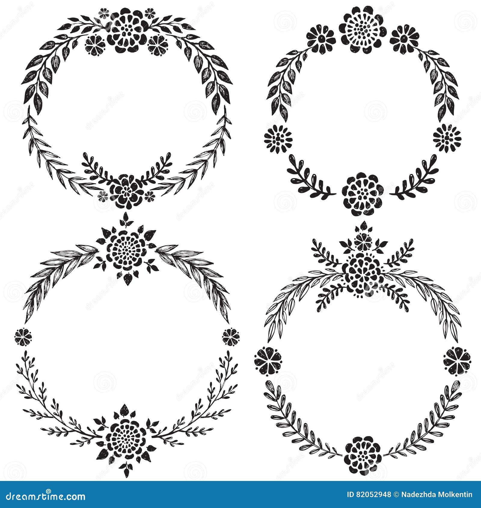 Set Of Black Flower Design Elements From My Big Floral: Vintage Set Of Hand Drawn Rustic Wreaths. Floral Vector