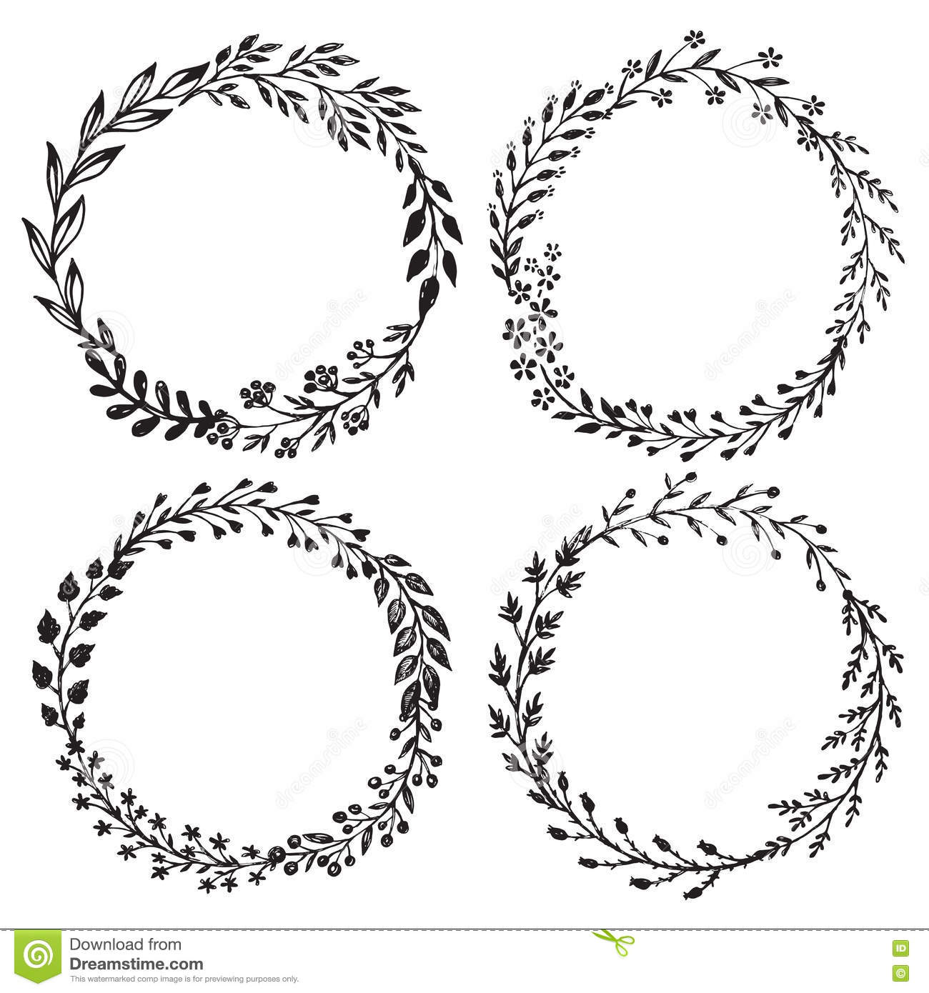 Vector Graphic Set With Beautiful, Floral Wreaths. Cartoon