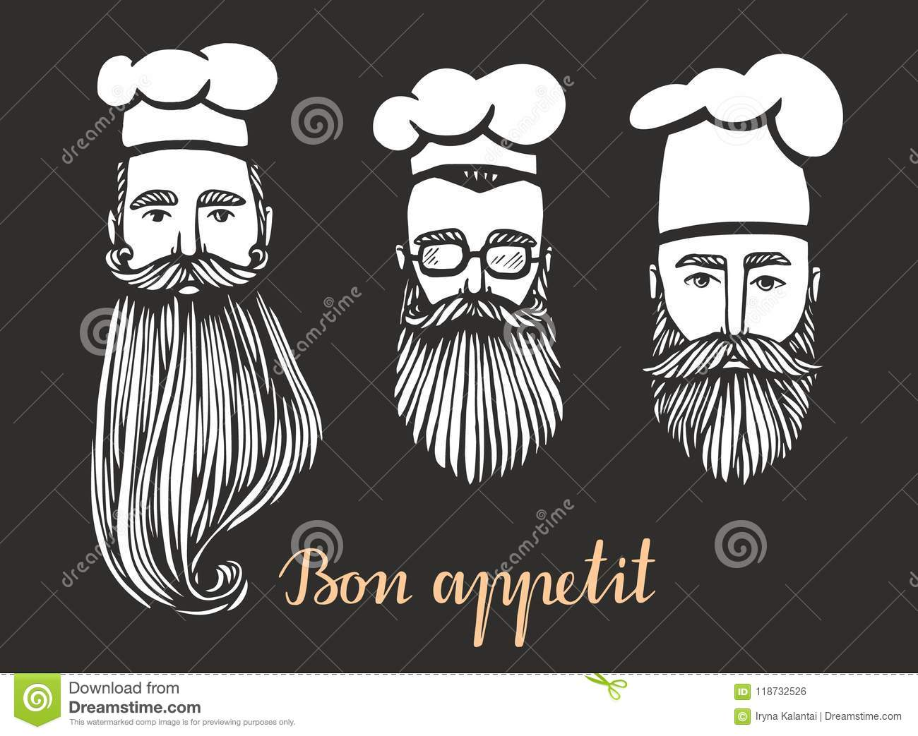 4907c6e4d0f Set of Hand drawn vector illustration of hipster chief-cooker with a  mustache and beard in white hat. chief logo.