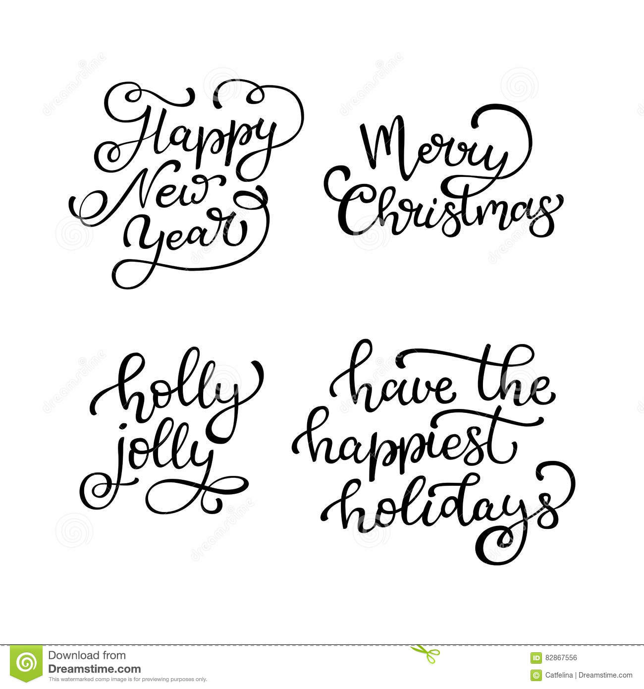Set Of Hand Drawn Vector Quotes. Happy New Year. Merry Christmas ...