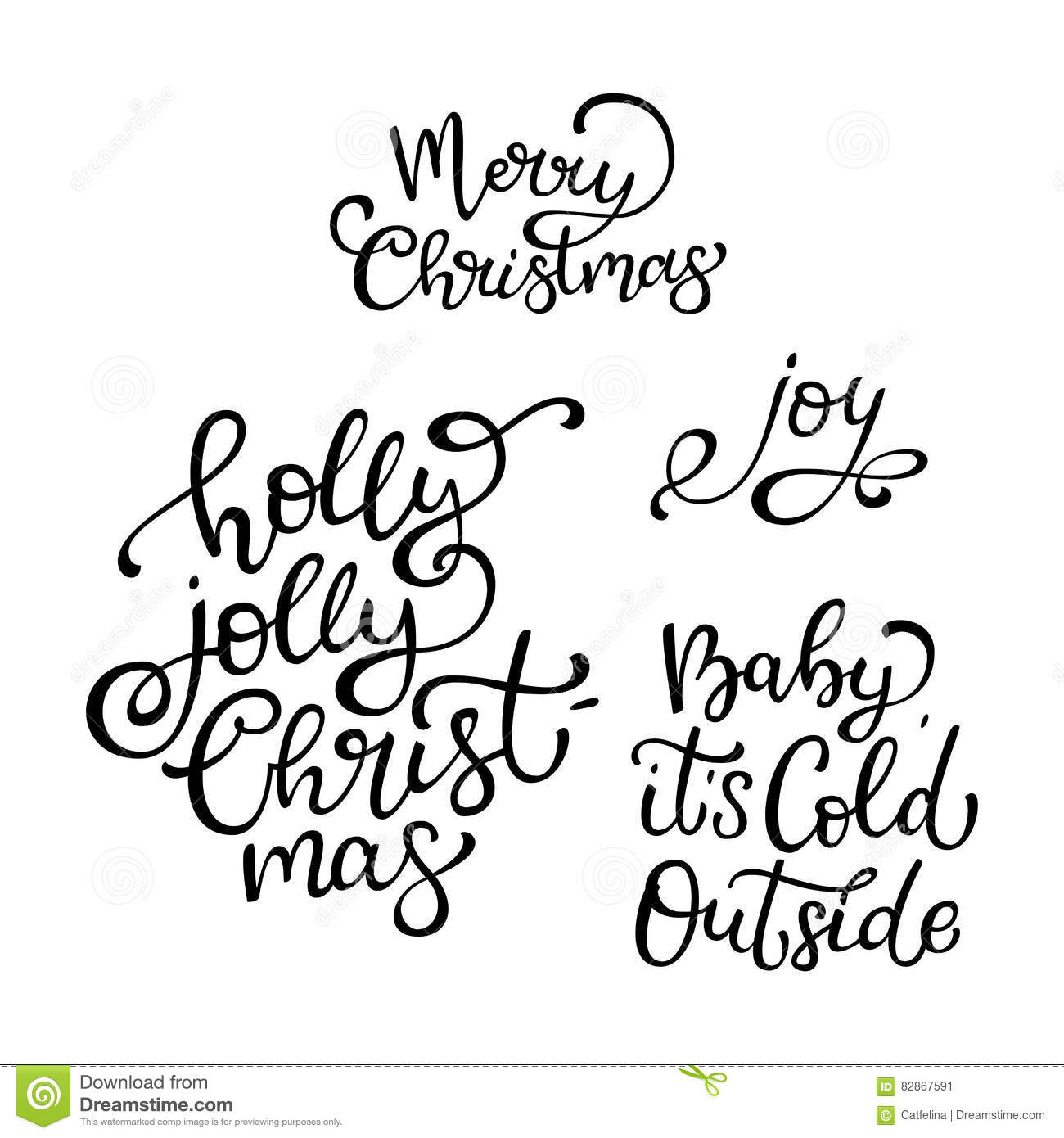 Set Of Hand Drawn Vector Quotes. Merry Christmas .Joy. Baby It I ...