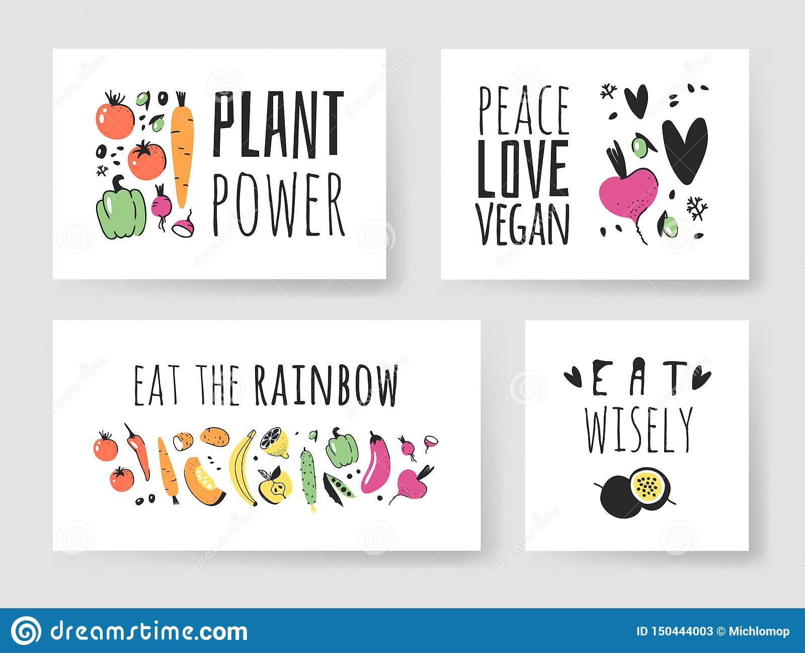 Set Of Hand Drawn Vegetables, Fruits And Eco Friendly Words