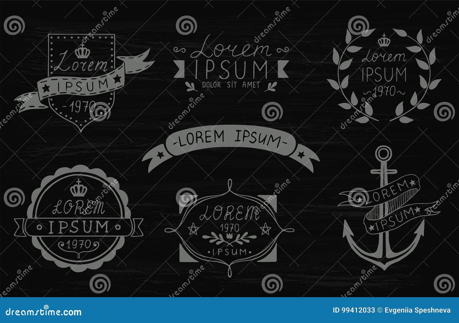 Set of hand drawn vintage labels. Templates for design of labels, emblems, logotypes. Vector illustration.