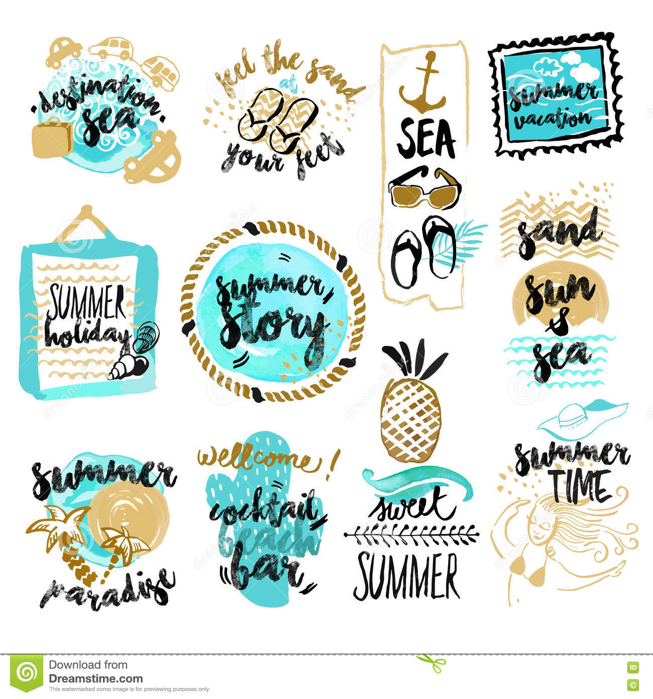 Set of hand drawn watercolor badges and stickers of summer