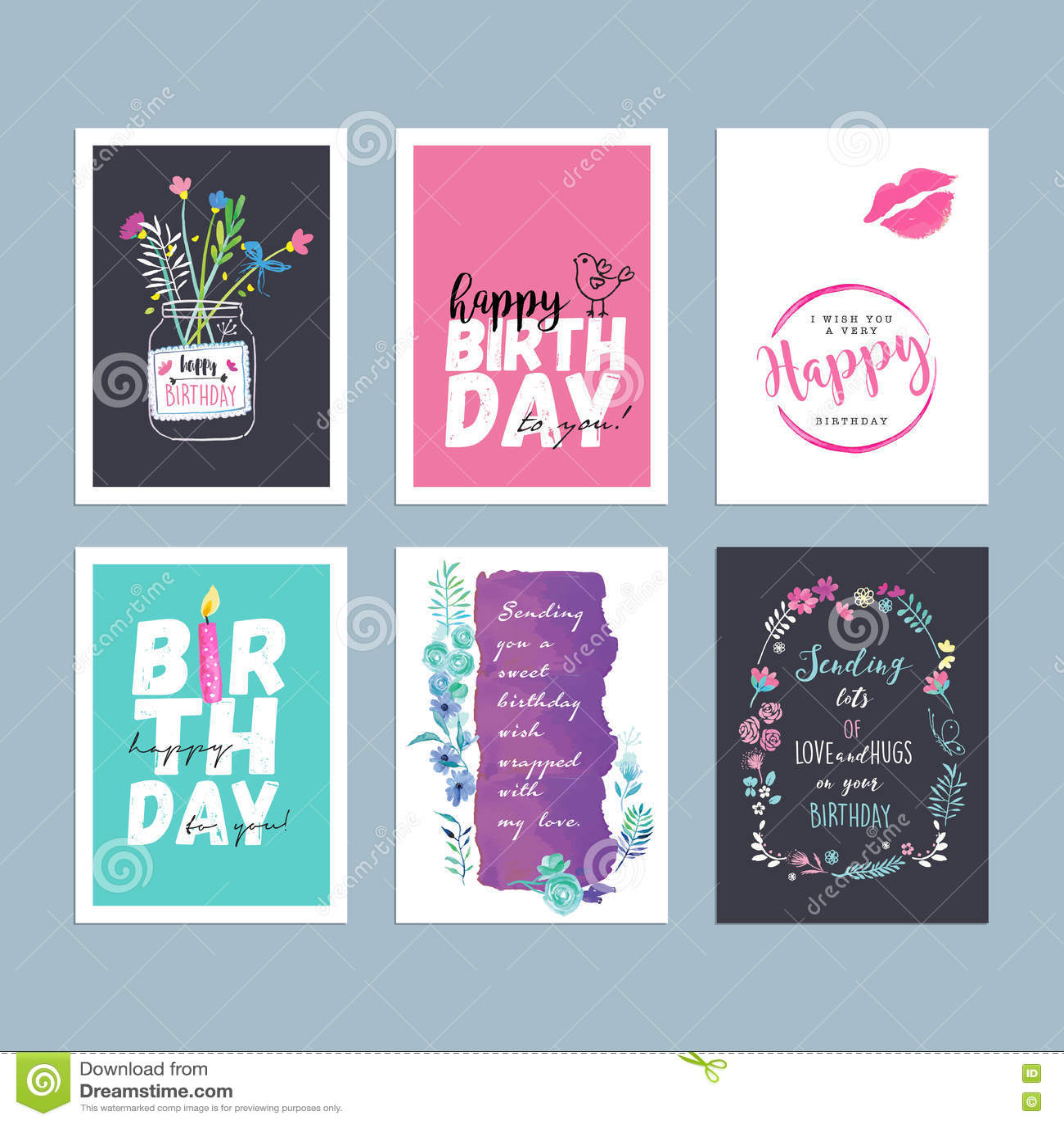 Set of hand drawn watercolor birthday greeting cards stock vector set of hand drawn watercolor birthday greeting cards m4hsunfo