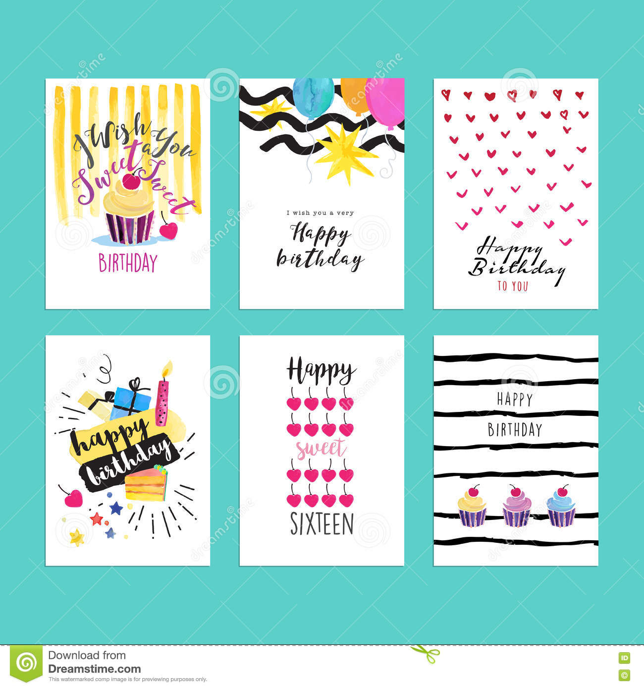 Set Of Hand Drawn Watercolor Illustrations For Birthday Greeting Cards Download Preview