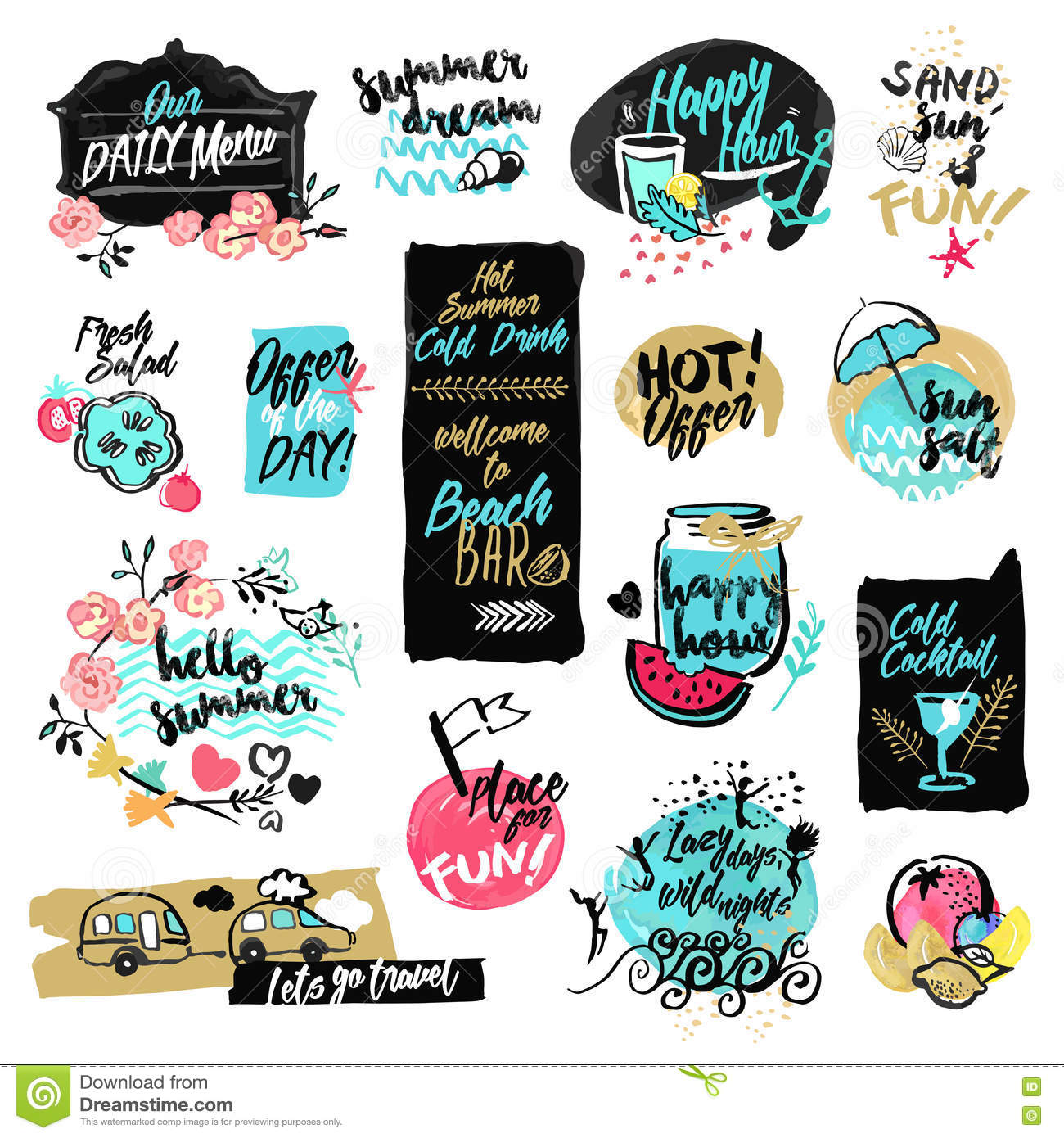 Set of hand drawn watercolor labels and badges of summer