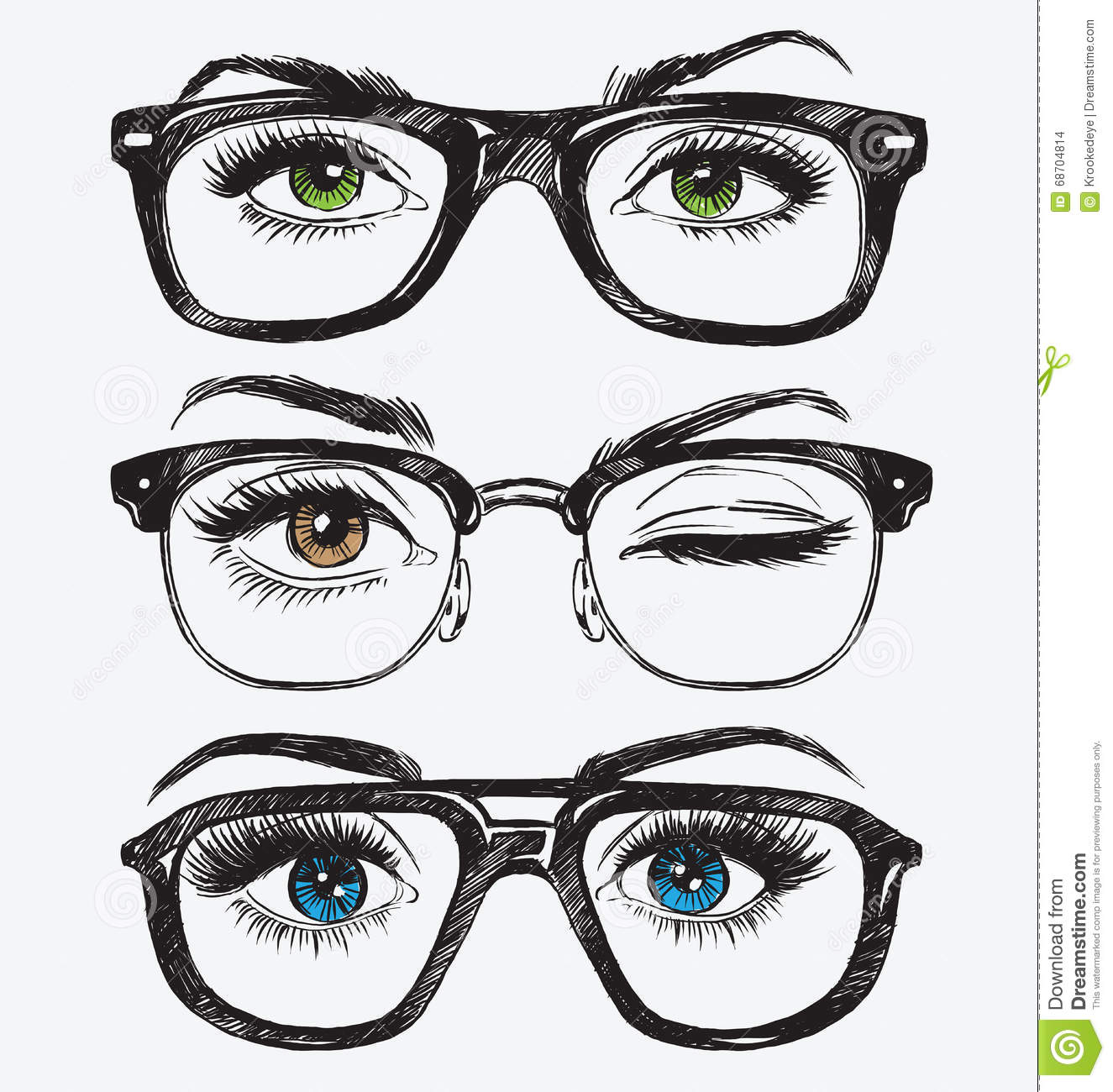 2711799f2b Set Of Hand Drawn Women s Eyes With Hipster Glasses Stock Vector ...
