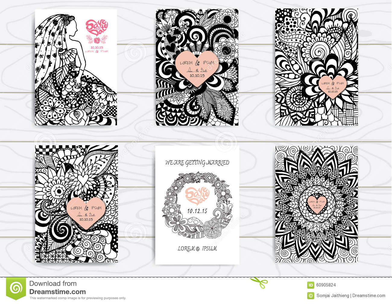 set of hand drawn zentangle on a4 template for print