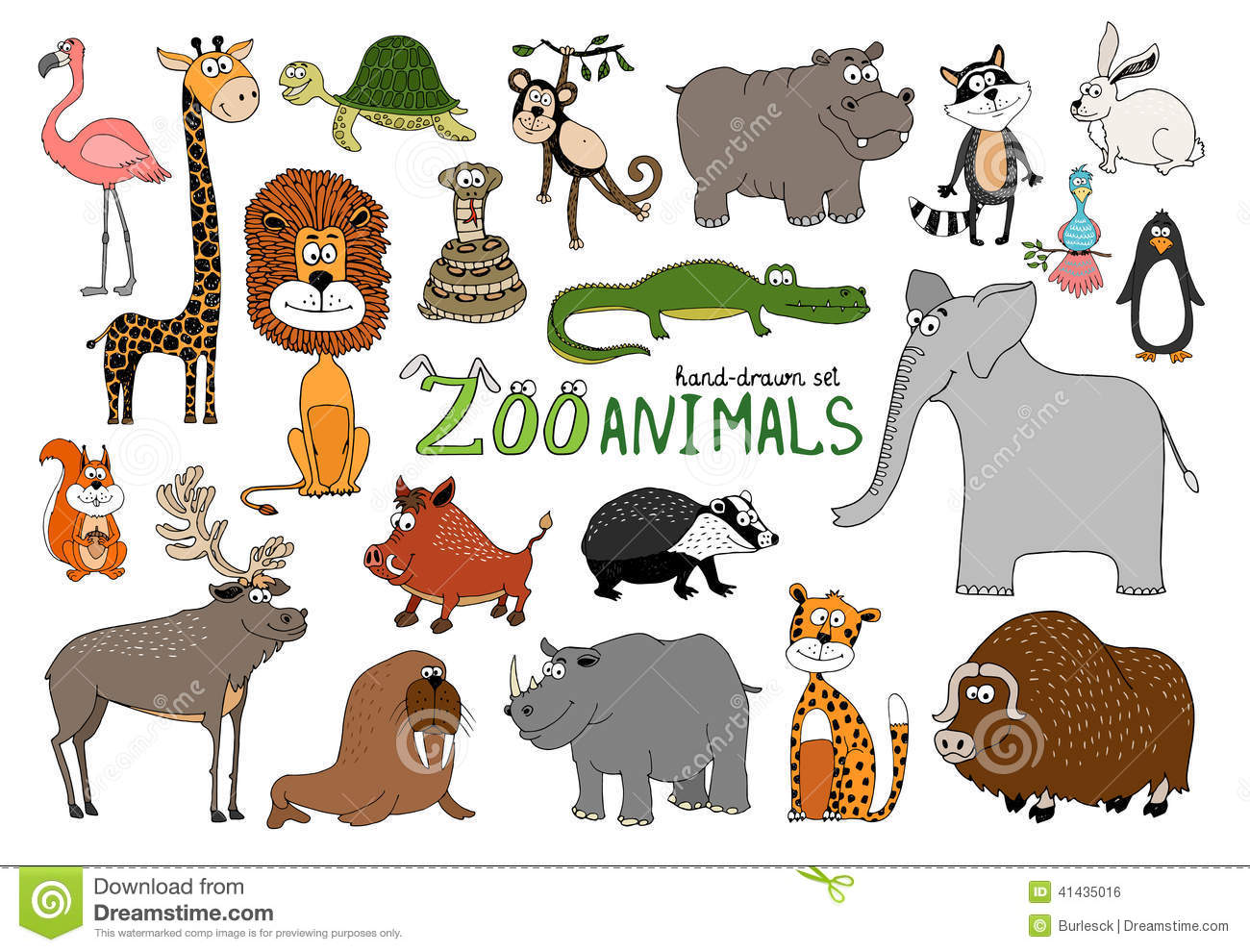 Image of: Animal Coloring Set Of Handdrawn Zoo Animals Dreamstimecom Set Of Handdrawn Zoo Animals Stock Vector Illustration Of
