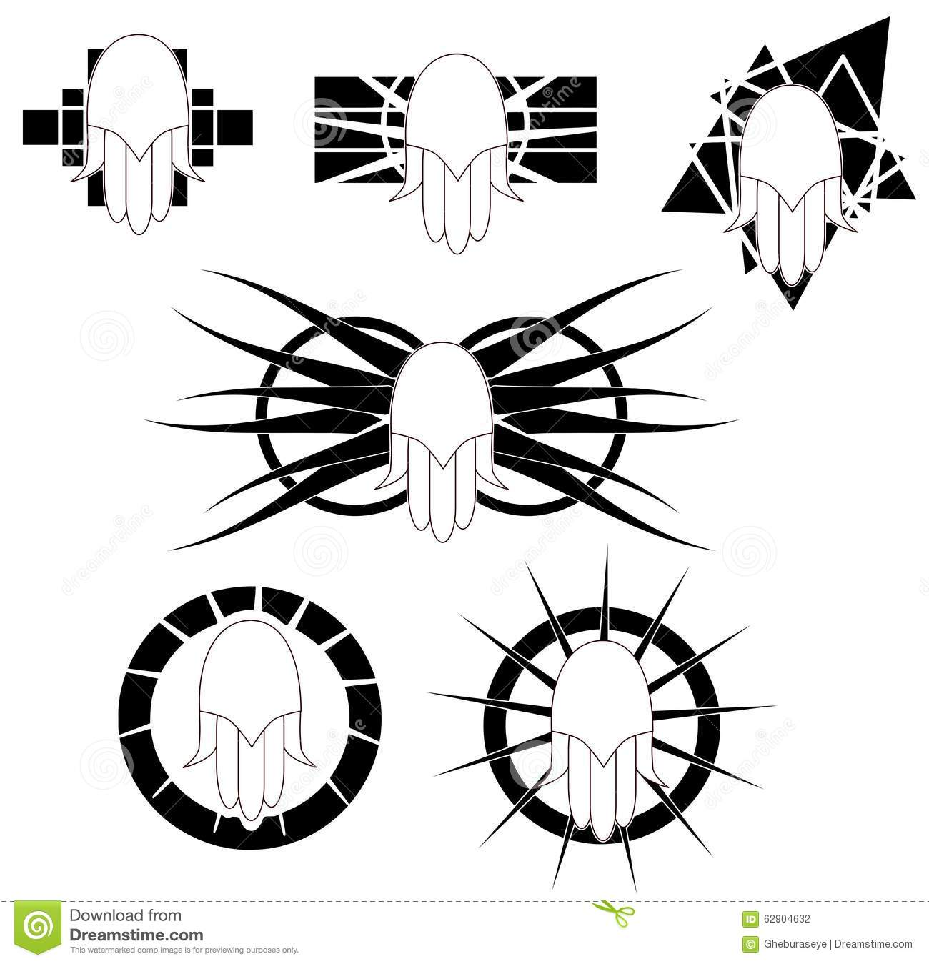 Set of hand of fatima tattoo in black and white isolated stock set of hand of fatima tattoo in black and white isolated biocorpaavc