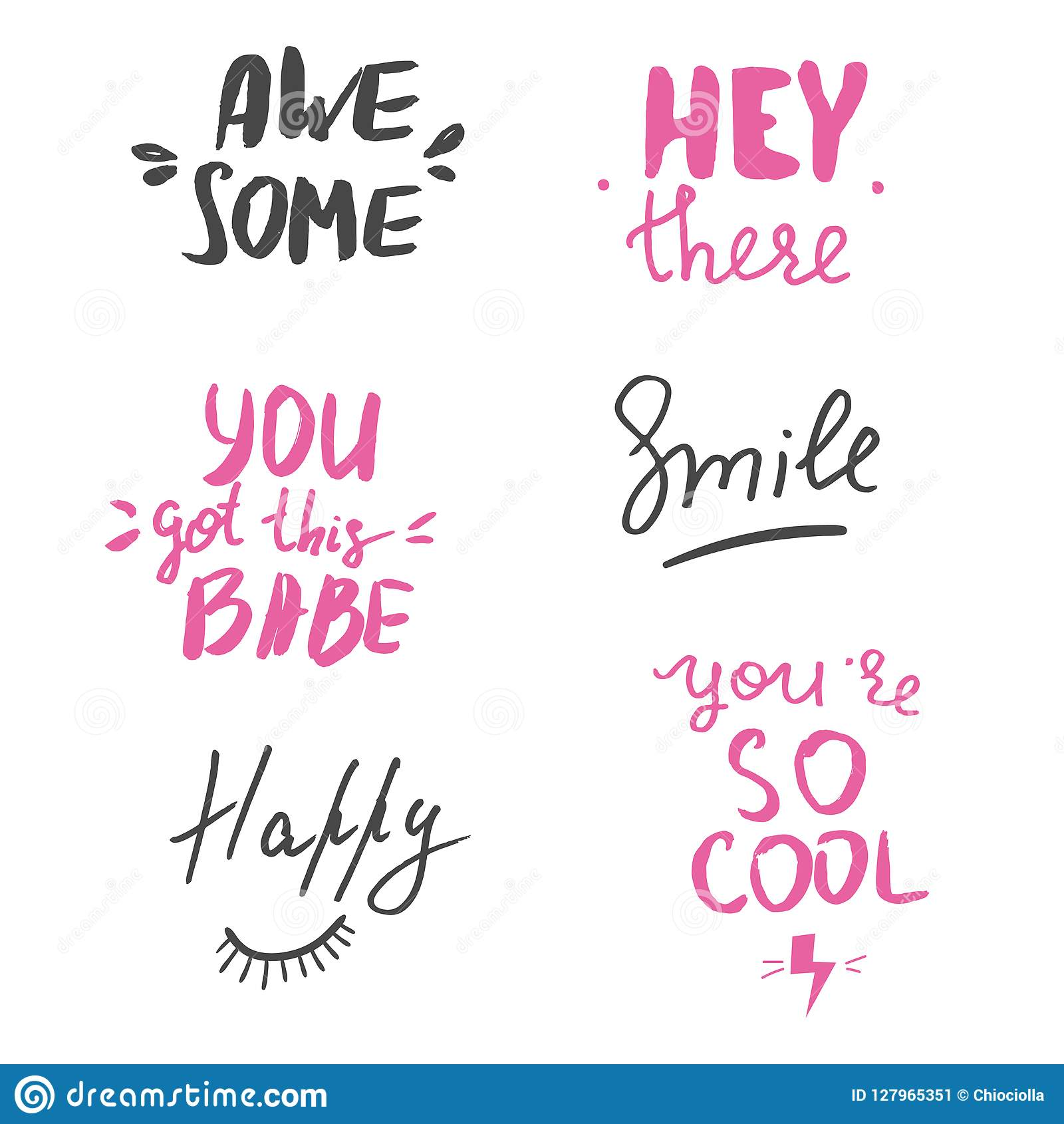 Set Of Hand Lettered Inspirational Andd Motivational Quotes Stock