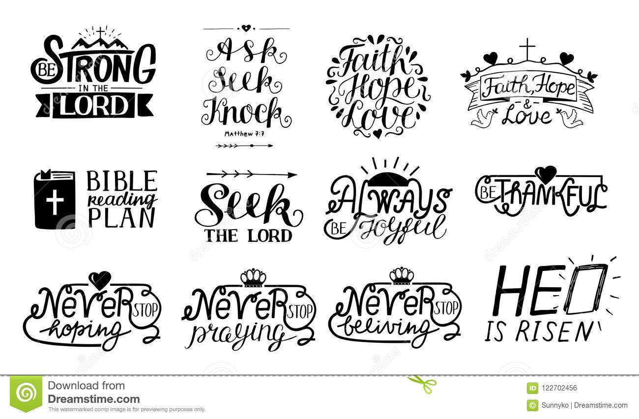 Set Of 12 Hand Lettering Christian Quotes Be Strong In The Lord Ask