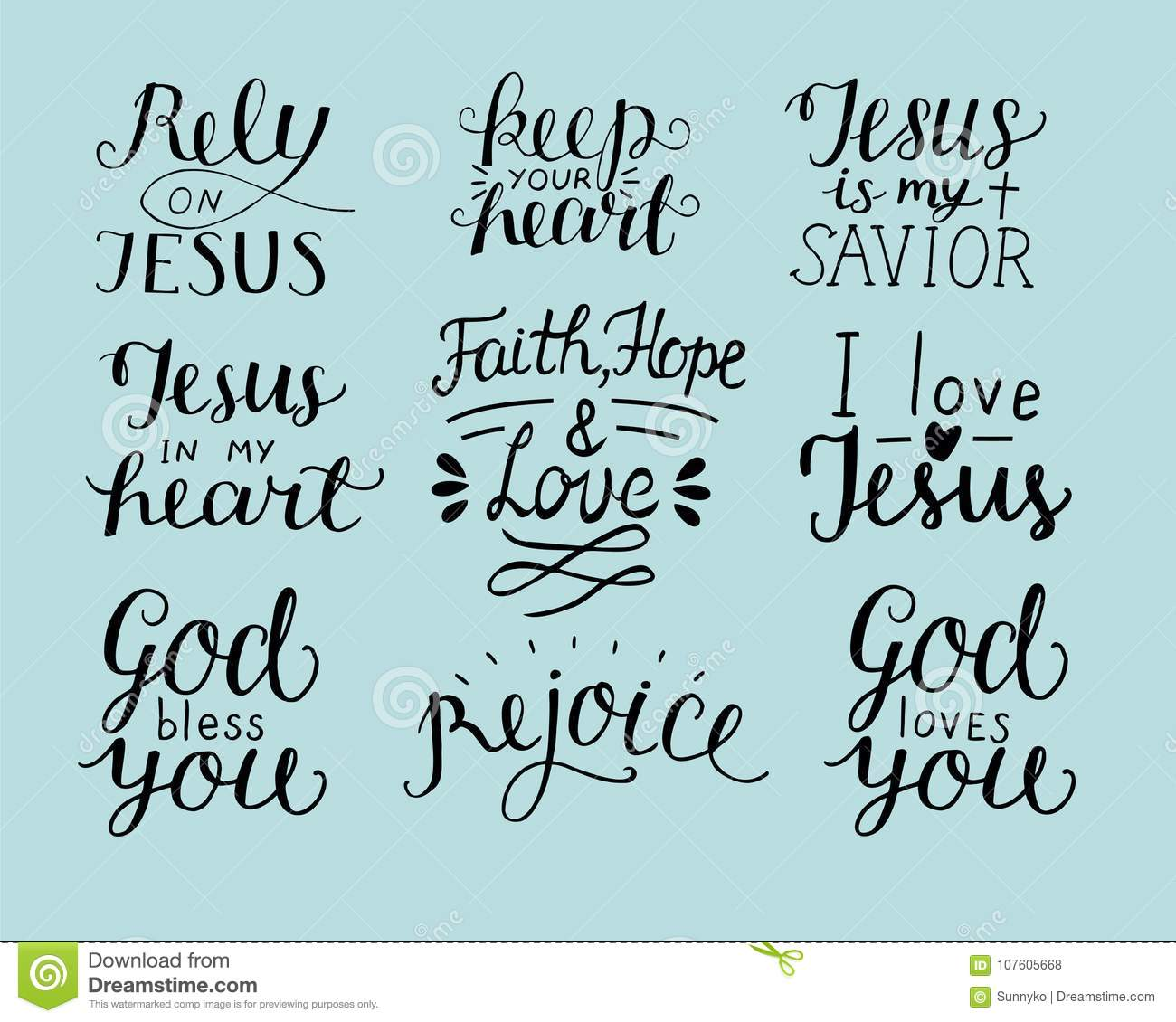 Set Of 9 Hand Lettering Christian Quotes God Bless You Rely On