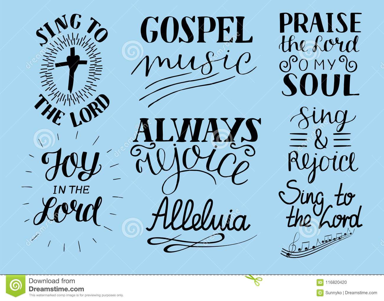 Set Of 8 Hand Lettering Christian Quotes Sing To The Lord Alleluia