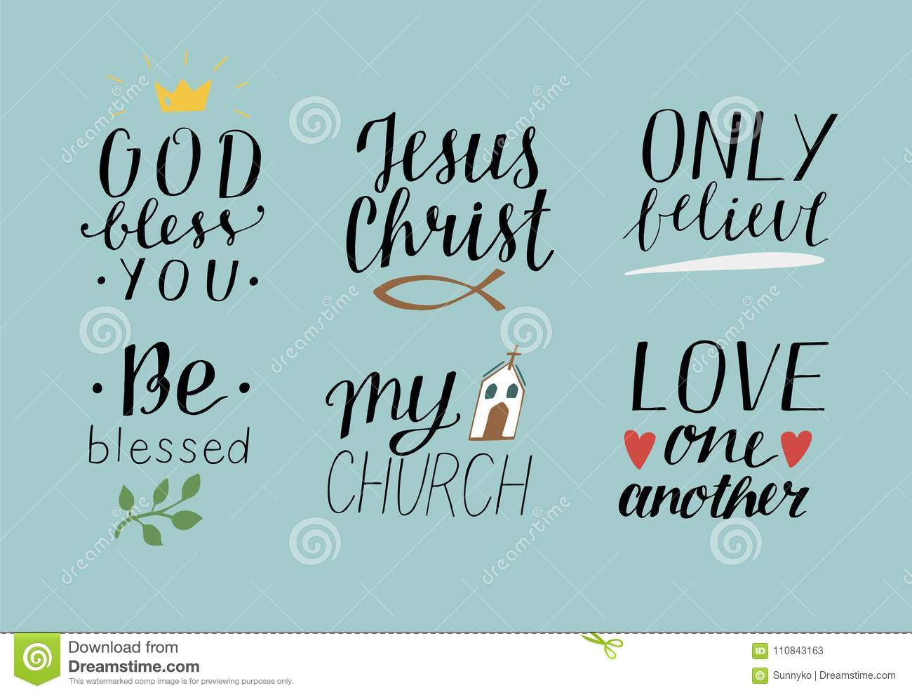 Set Of 6 Hand Lettering Christian Quotes With Symbols God Bless You