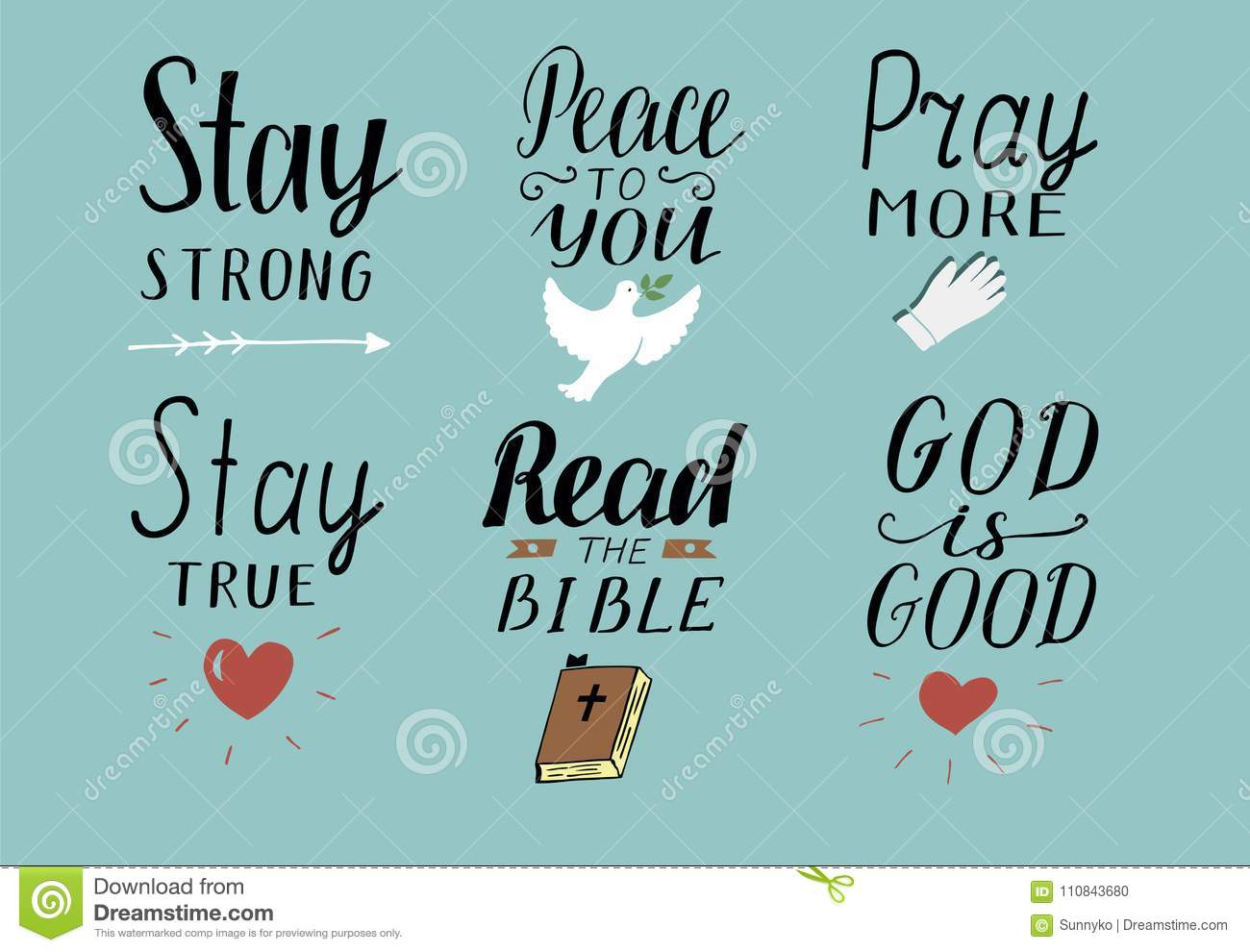 Set Of 6 Hand Lettering Christian Quotes With Symbols Stay Strong
