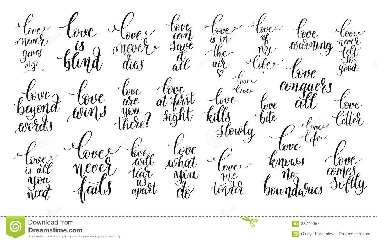 set of 25 hand lettering positive quotes about love stock vector
