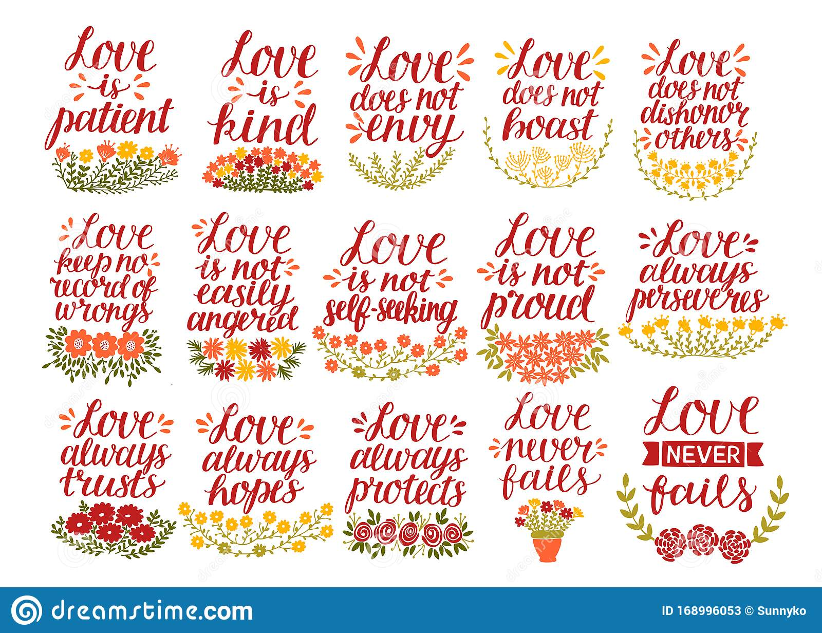 set of hand lettering quotes bible verse love is patient