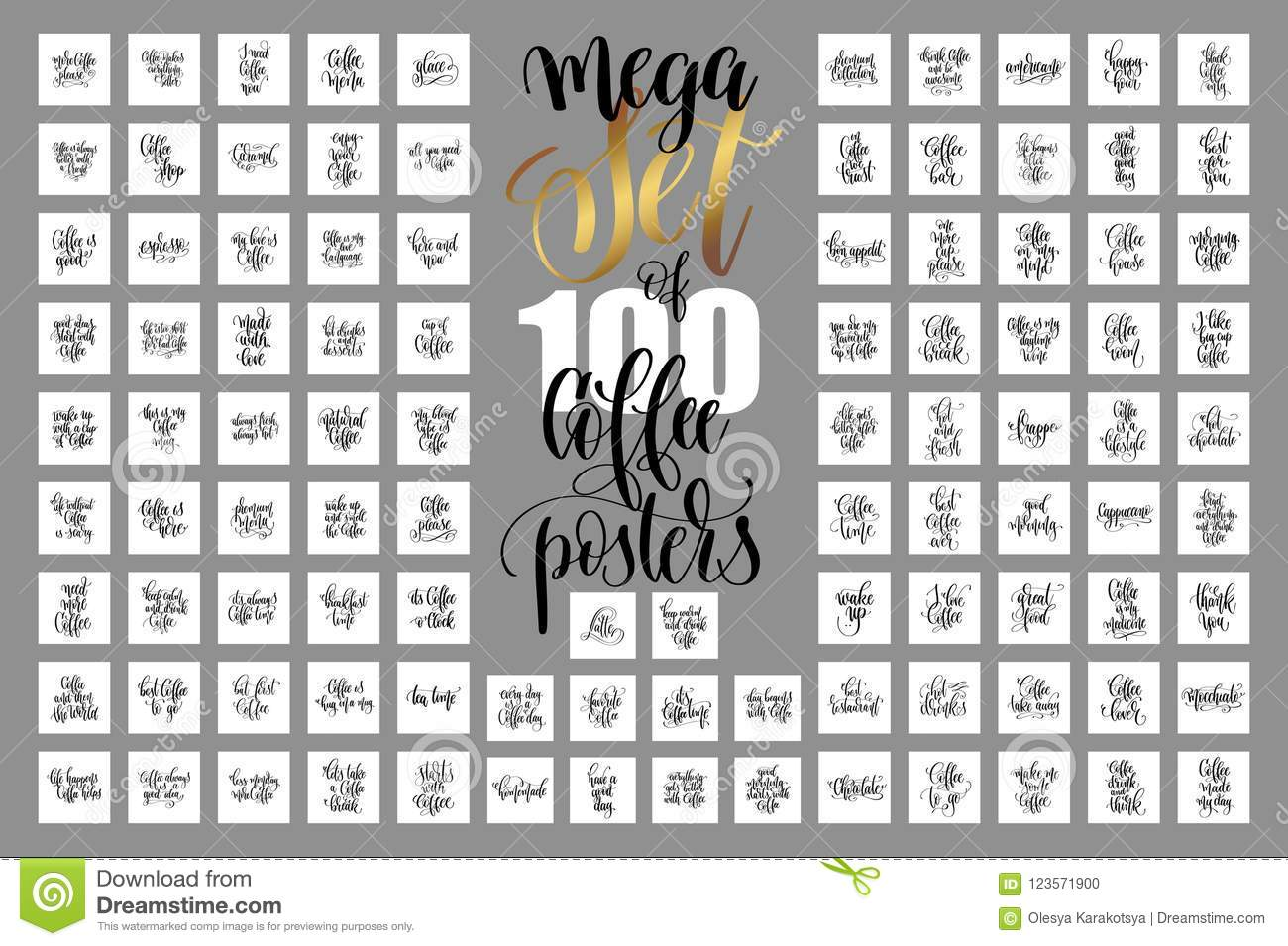set of hand lettering quotes about coffee drink stock vector