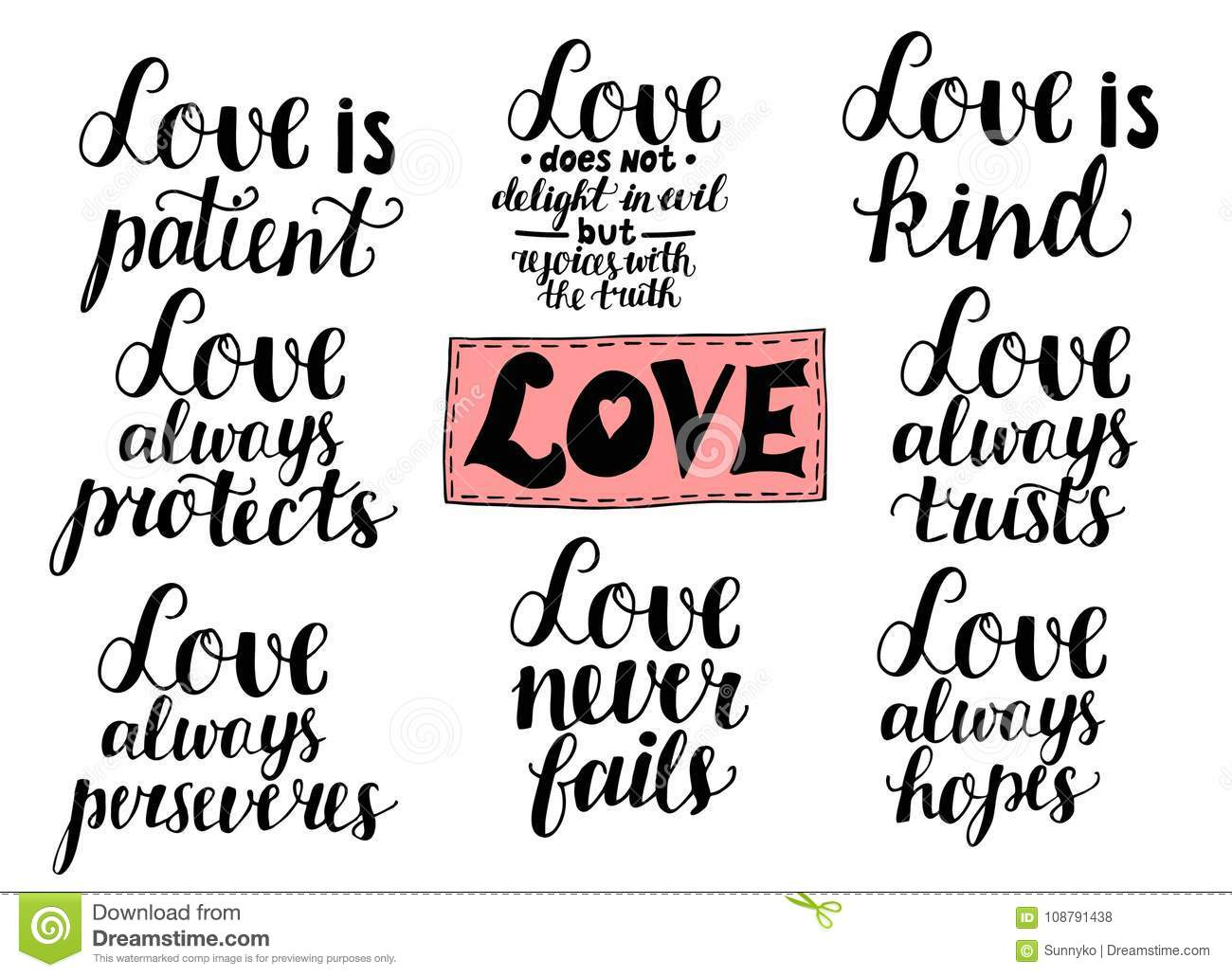 Set Of 8 Hand Lettering Quotes About Love From Corinthians ...