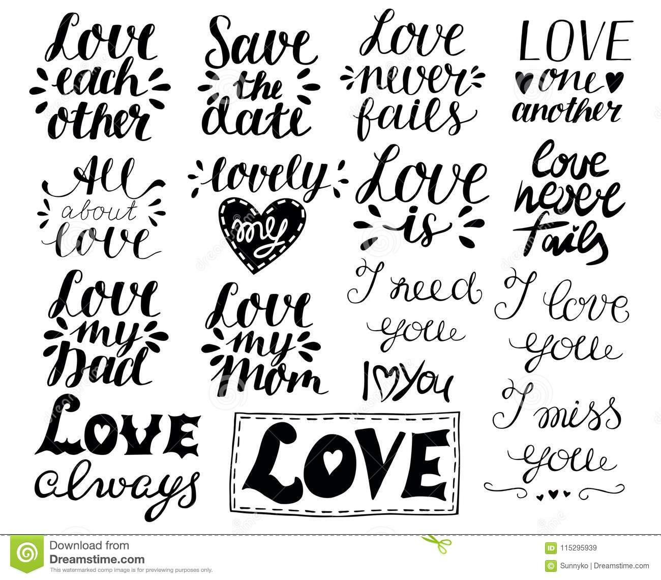 Set With Hand Lettering Quotes About Love Stock Illustration