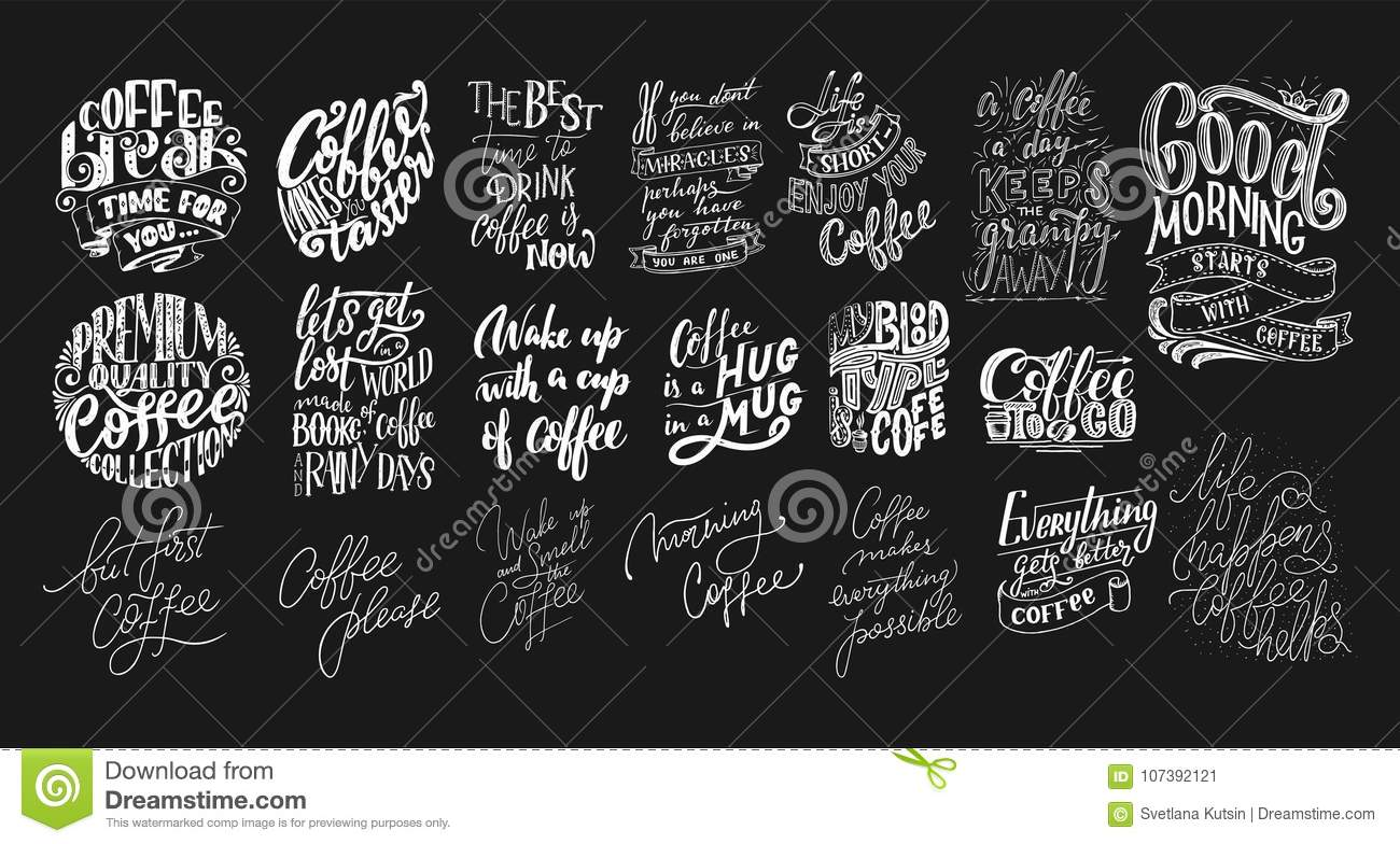 One Line Art Quotes : Set of hand lettering quotes with sketches for coffee shop or cafe