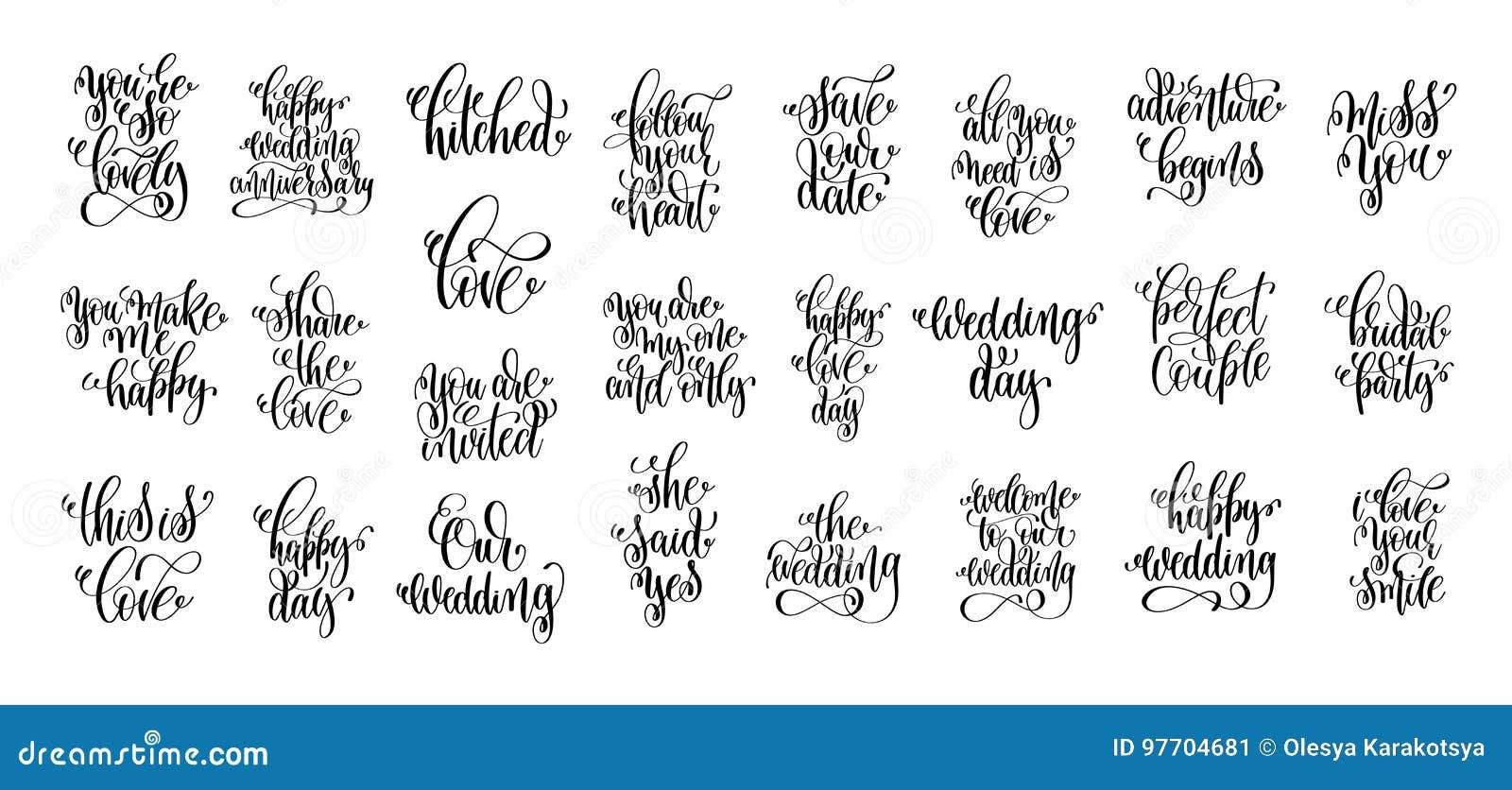 Set Of 25 Hand Lettering Wedding Invitation And Romantic Valenti ...