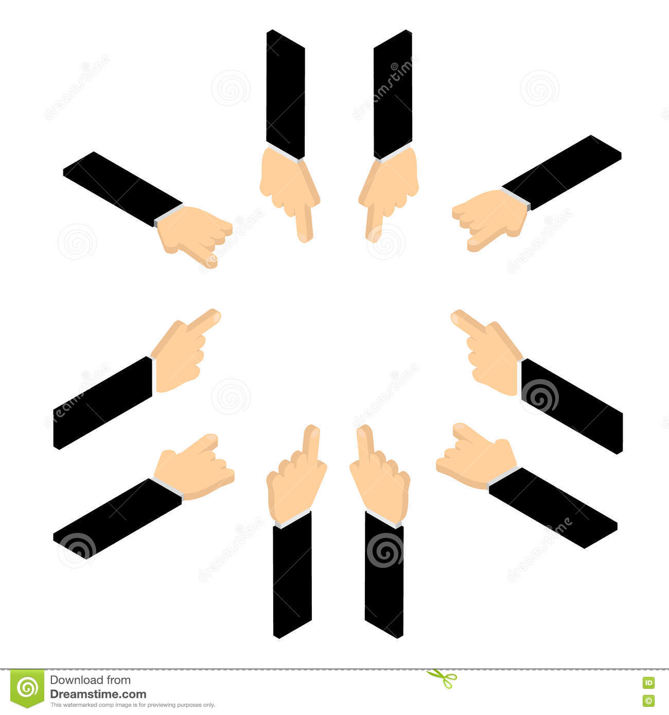 Set of hand pointing finger