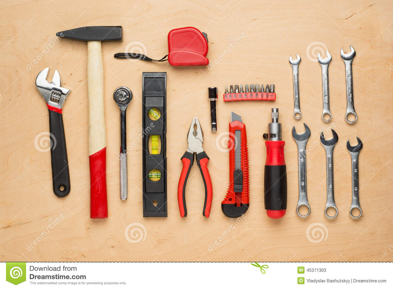 Set Of Hand Tools On A Wooden Panel Stock Image - Image of ...